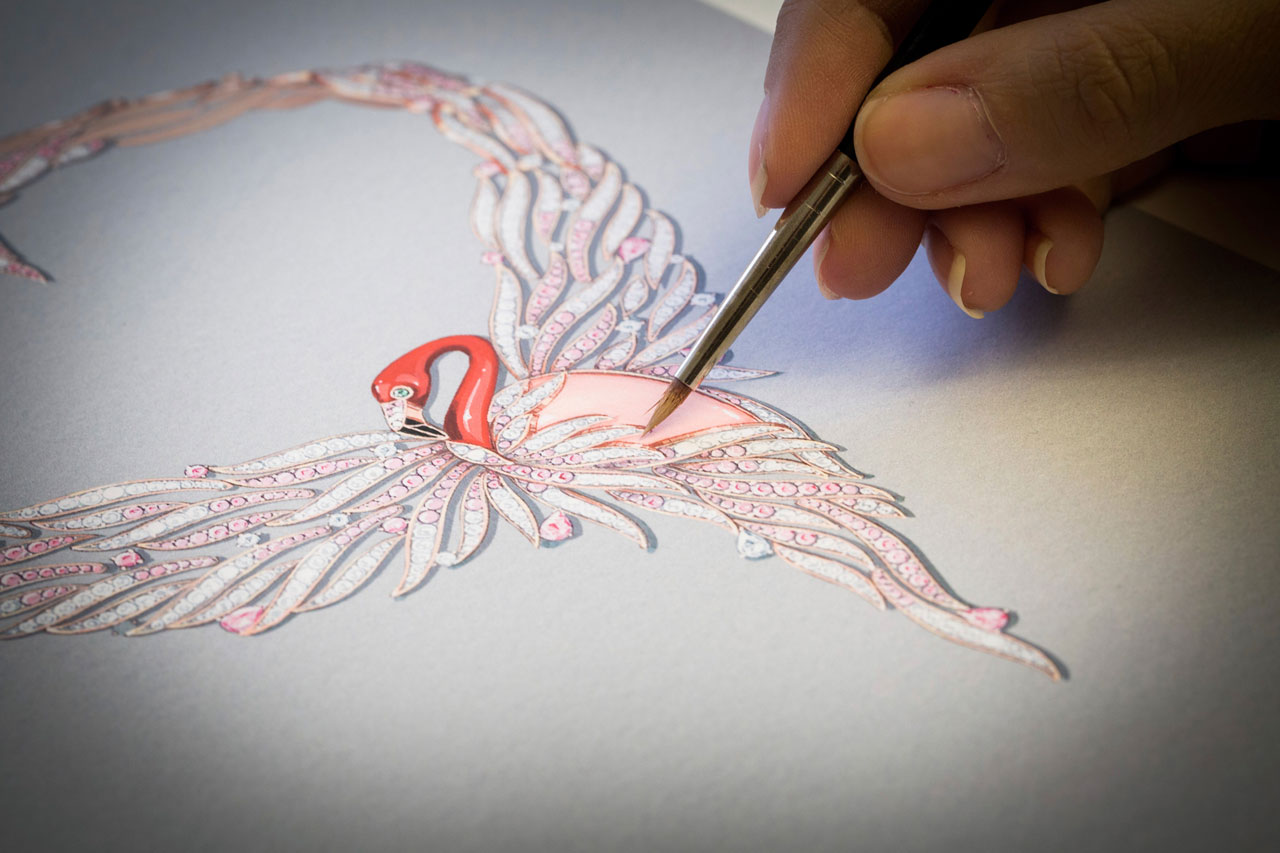 Flamant Corail necklace sketch. Photo © Van Cleef & Arpels.