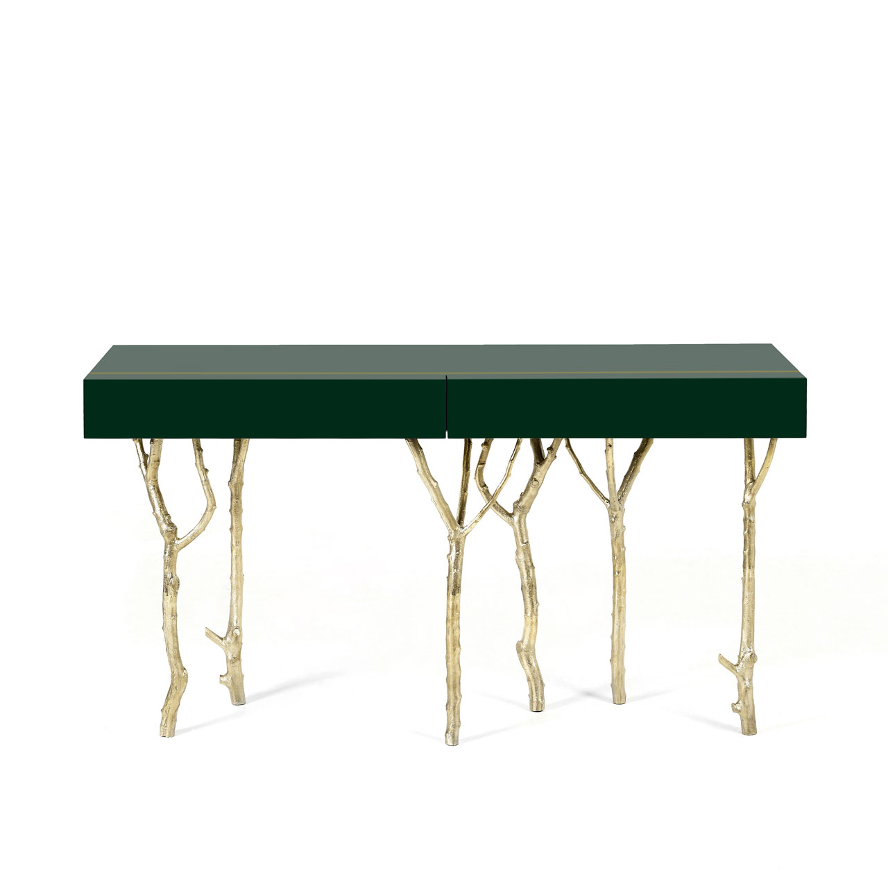The Fig Tree Console is a tribute to Nature's graciousness. The legs are made from fig tree branches in brass casting mold. The lacquered top has two drawers with purpleheart wood veneer lined with a subtle metal rim. Photo © Ginger & Jagger.