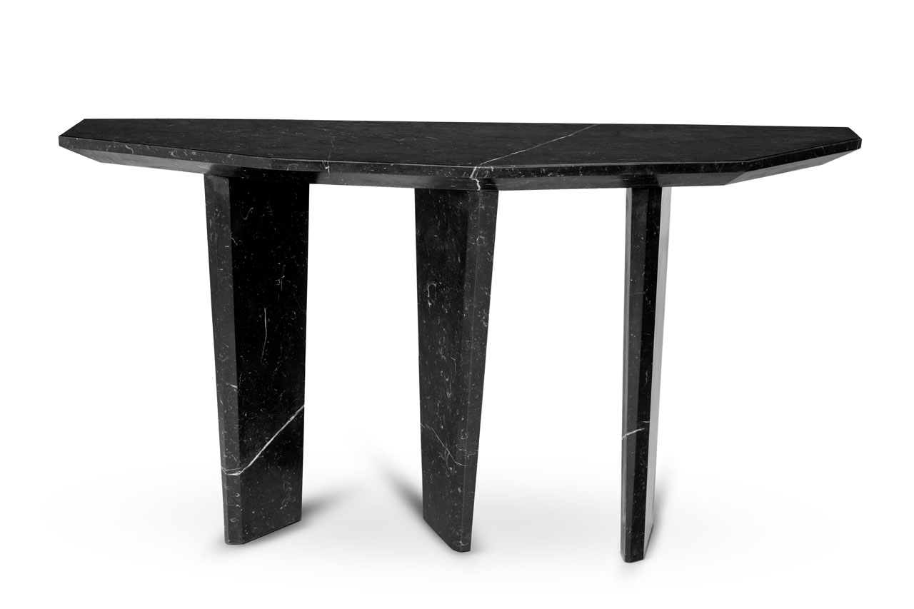 Dolmen Console in all black marble by Ginger & Jagger.
