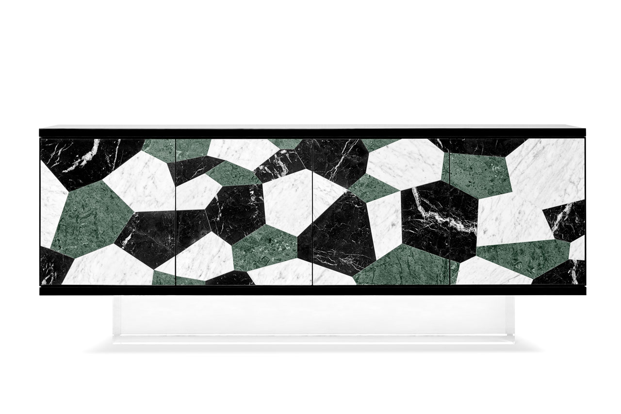 The Fractal Sideboard with marble marquetry by Ginger & Jagger.