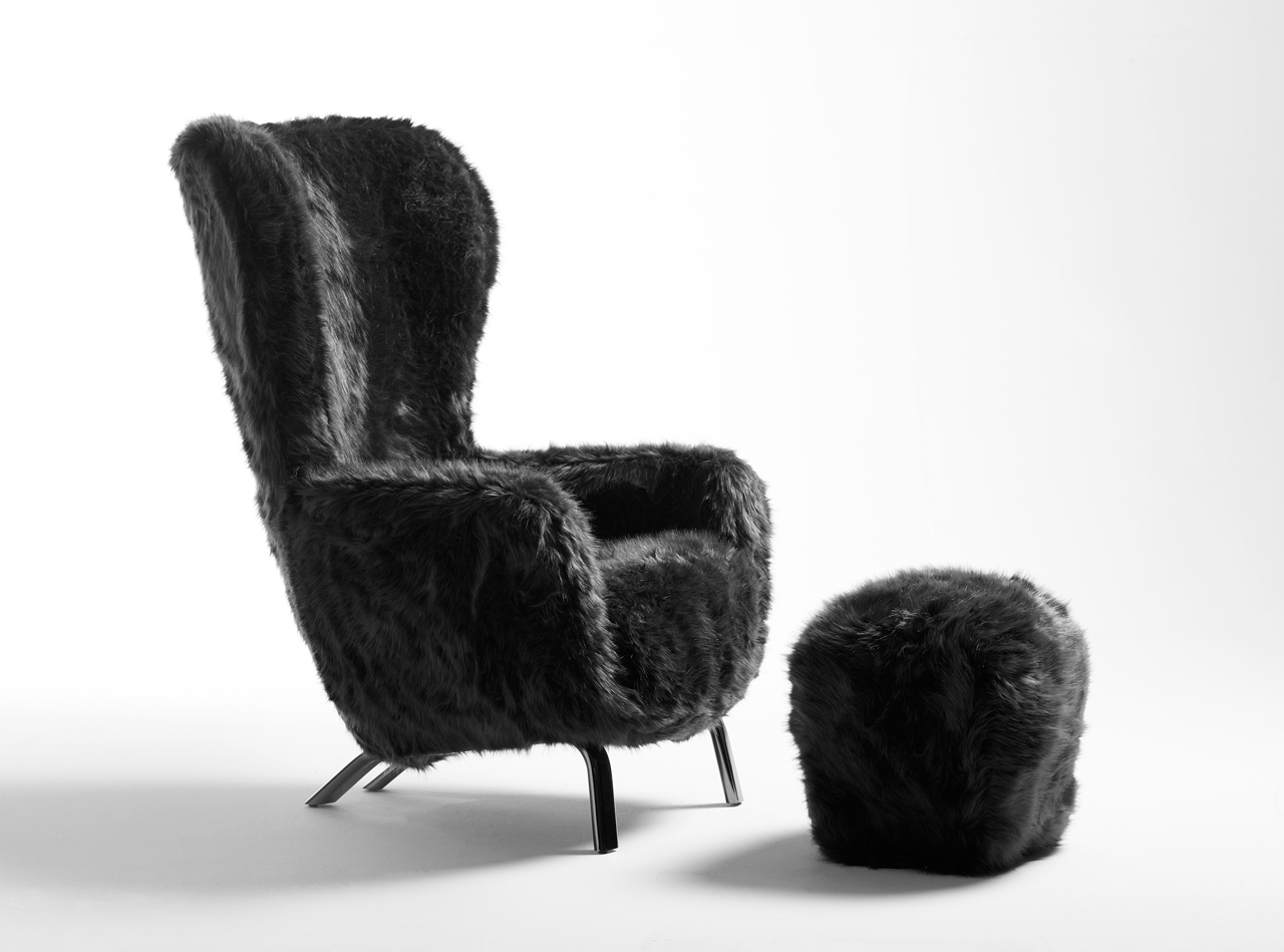 Guelfo Fur Limited Edition - wingback and footstool - by Lapo Ciatti for Opinion Ciatti.