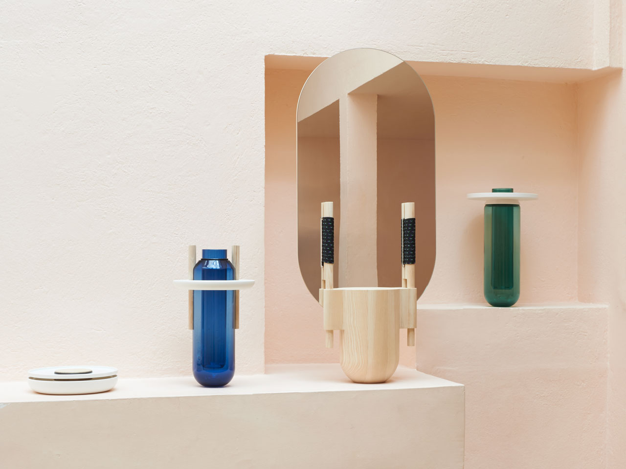 Vases Composés (produced by the Cirva and the Manufacture nationale de Sèvres)Standing Mirror(edited by Galerie kreo andproduced byHubertWeinzierl workshop) andBoxes : Joint Creux (produced by the Manufacture nationale de Sèvres) by French designer Samy Rio.