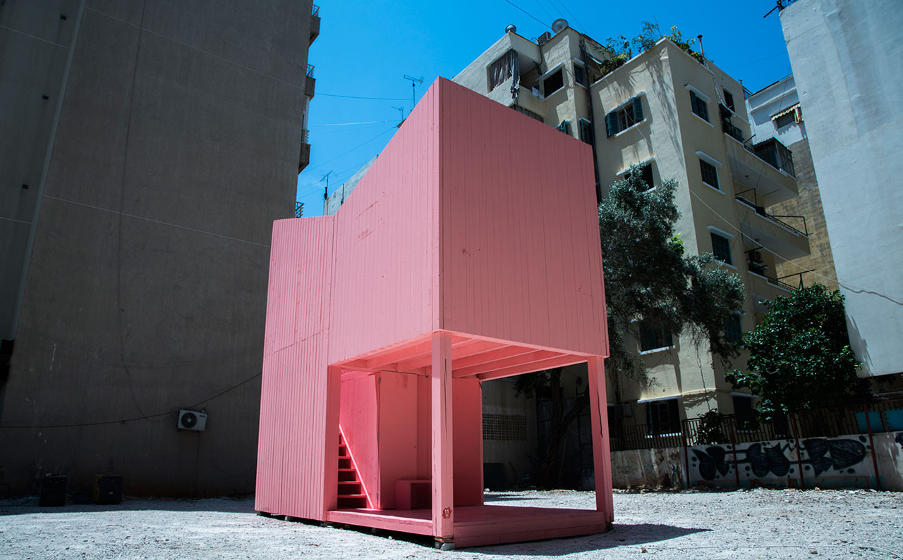 Nathalie Harb' Silent Room was part of the urban interventions at Jeanne d'Arc Street. Photo by Taim Karesly.