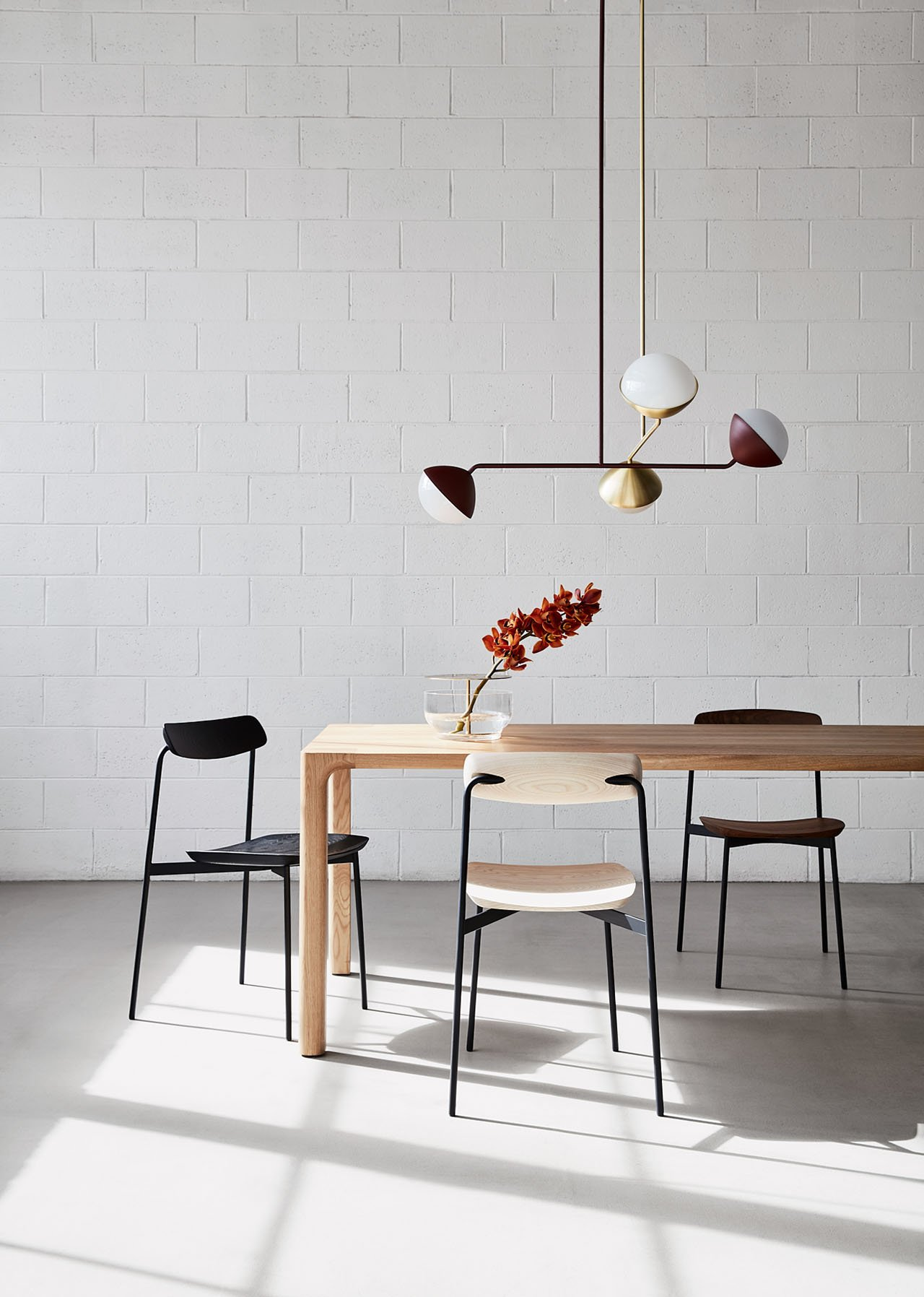 Jolly Double Rod Pendant by Kate Stokes and Sia chair by Tom Fereday for NAU  (LOCAL DESIGN).