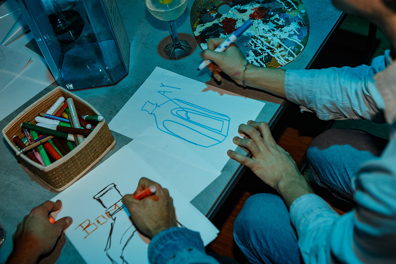 Art supplies allowed guests to create their own Bombay Sapphire-inspired artworks. Photo by Kostas Dekoumes © Yatzer 2019.