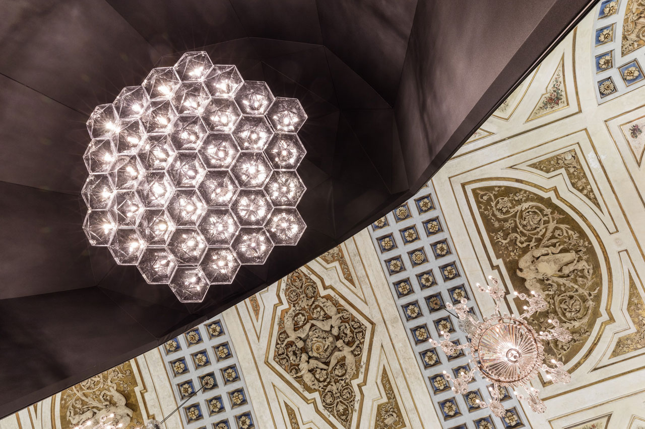 The restoration project of the Crystal Chandeliers in the Napoleonic Wing at thePalazzoSerbelloni byLASVIT.Photo byMoritz Waldemeyer.