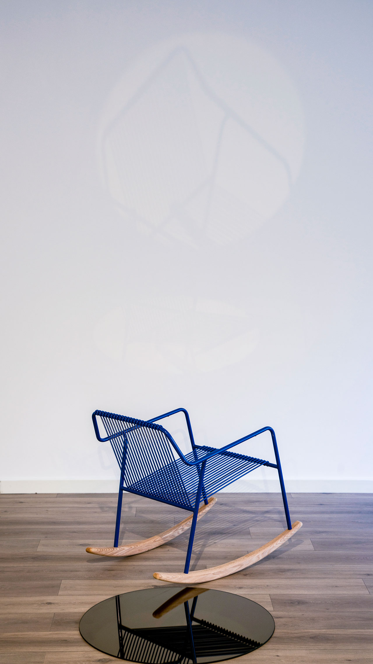 Mike rocking chair by Local Industries. Exhibition view at Dar El Nimer during Beirut Design Week 2018. © 2018 Local Industries