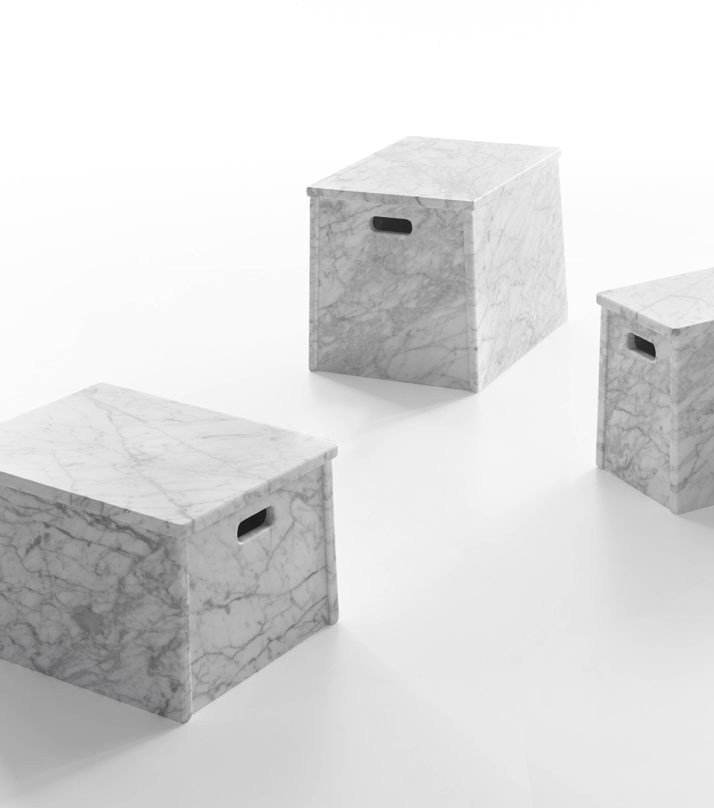 London, Paris, Rome low tables with handles in White Carrara marble by Jasper Morrison for Marsotto Edizioni, 2010.
