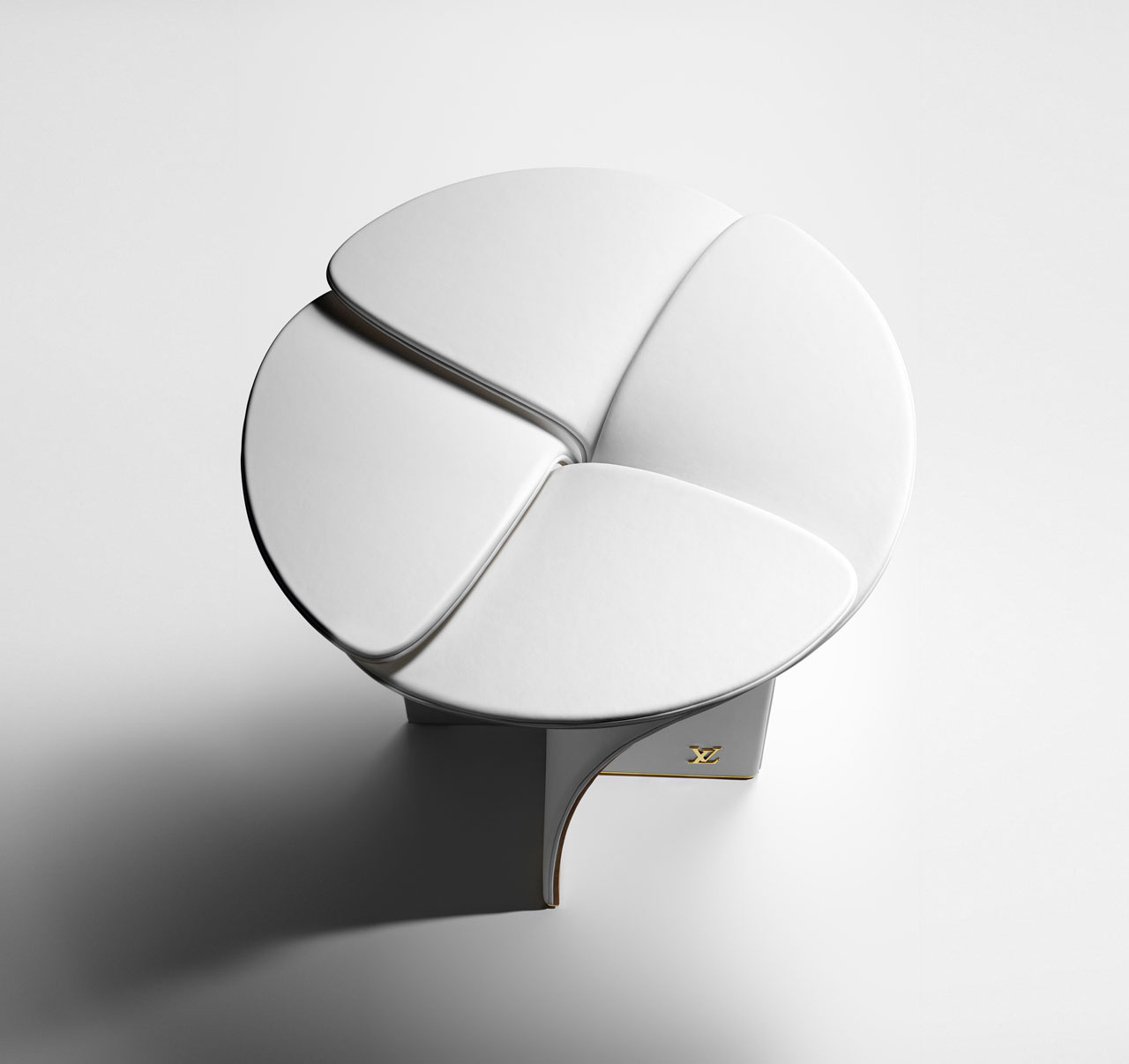 Blossom Stool by Tokujin Yoshioka for Louis Vuitton Objets Nomades 2017. Inspired by Louis Vuitton's historic Monogram-pattern flower, the stool is a rich swirl of wood and soft leather made using the best of the House's traditional techniques and craft. Two colour schemes are available: black and white. There also exists a 24-karat gilded brass version in a very limited edition of 12 pieces.