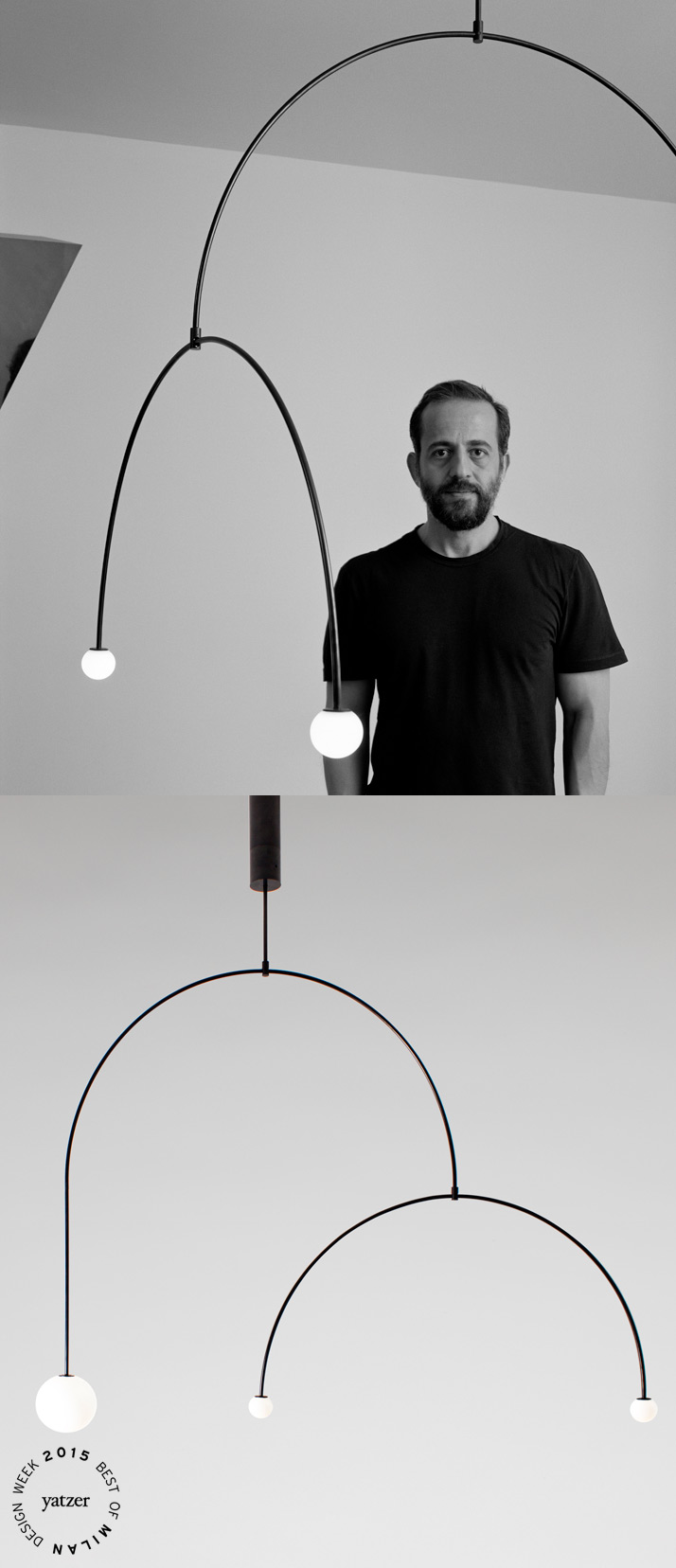 Mobile Chandelier 9 is one of the 15 new lighting designs that Michael Anastassiades launched in Milan this year, extending the collection of minimal mobile chandeliers and spherical lamps produced by his own brand.Photographs by Hélène Binet.