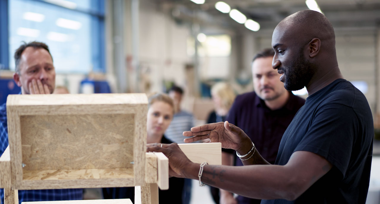 Virgil Abloh during the making of MARKERAD collection for Ikea.Photo © Inter IKEA Systems B.V.