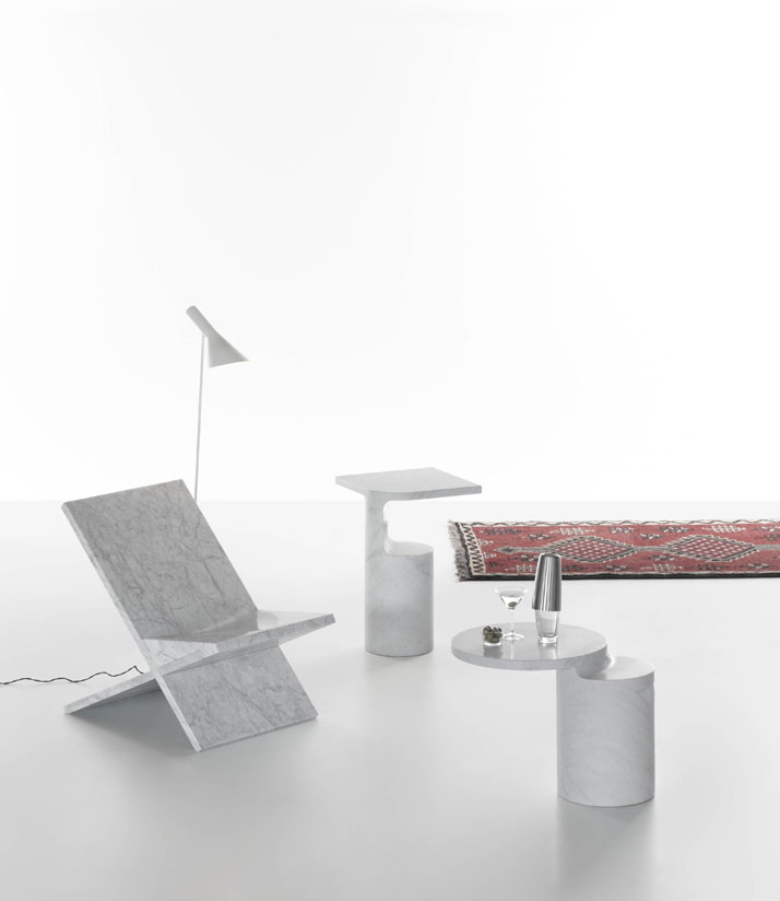 Sultan chair, Galata and Taksim side tables in White Carrara marble by Konstantin Grcic for Marsotto Edizioni, 2010.