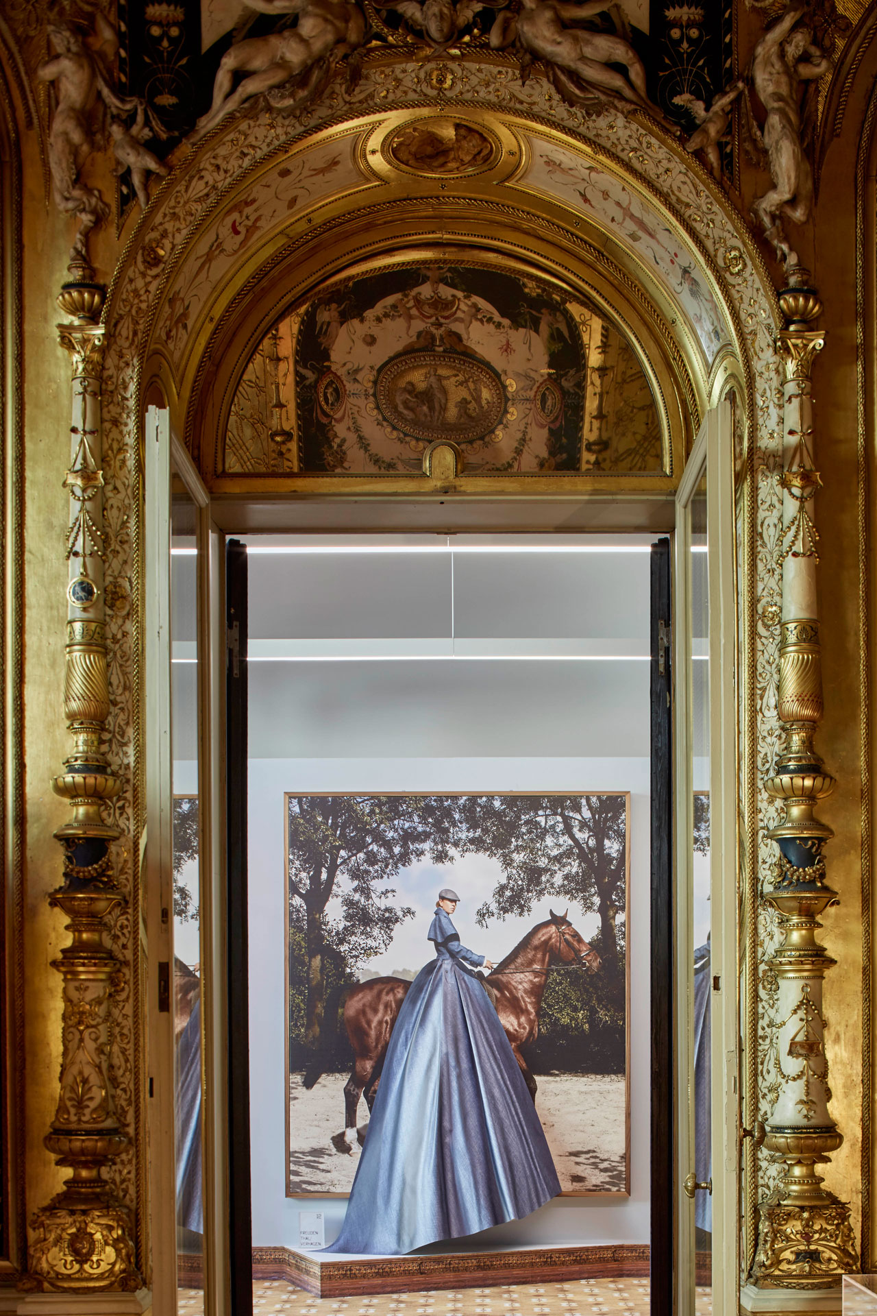 Artwork from the BLUE JEANS series by Freudenthal/Verhagen, a Dutch photography duo based in Amsterdam (Carmen Freudenthal & Elle Verhagen) as seen inside Palazzo Francesco Turati at the 2017 edition of MASTERLY: THE DUTCH IN MILAN exhibition. © Centraal Museum, Utrecht. Photo by Nicole Marnati.