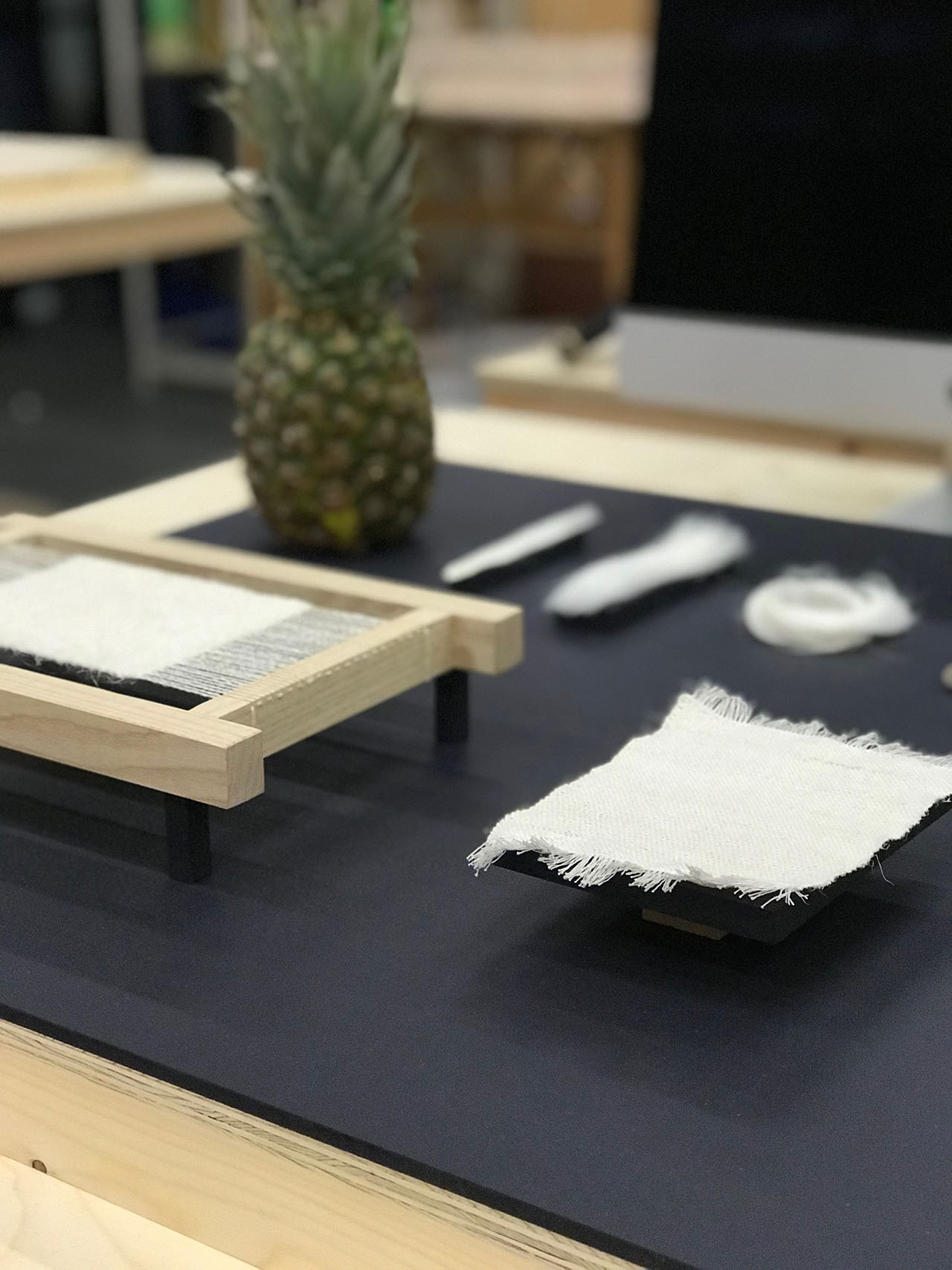 Pineapple Wool by Nathalie Spencer at  Material Futures exhibition (Based at Central Saint Martins, UAL, Material Futures is a two-year Masters course dedicated to exploring how we will live in the future through trans-disciplinary practice and collaboration).
