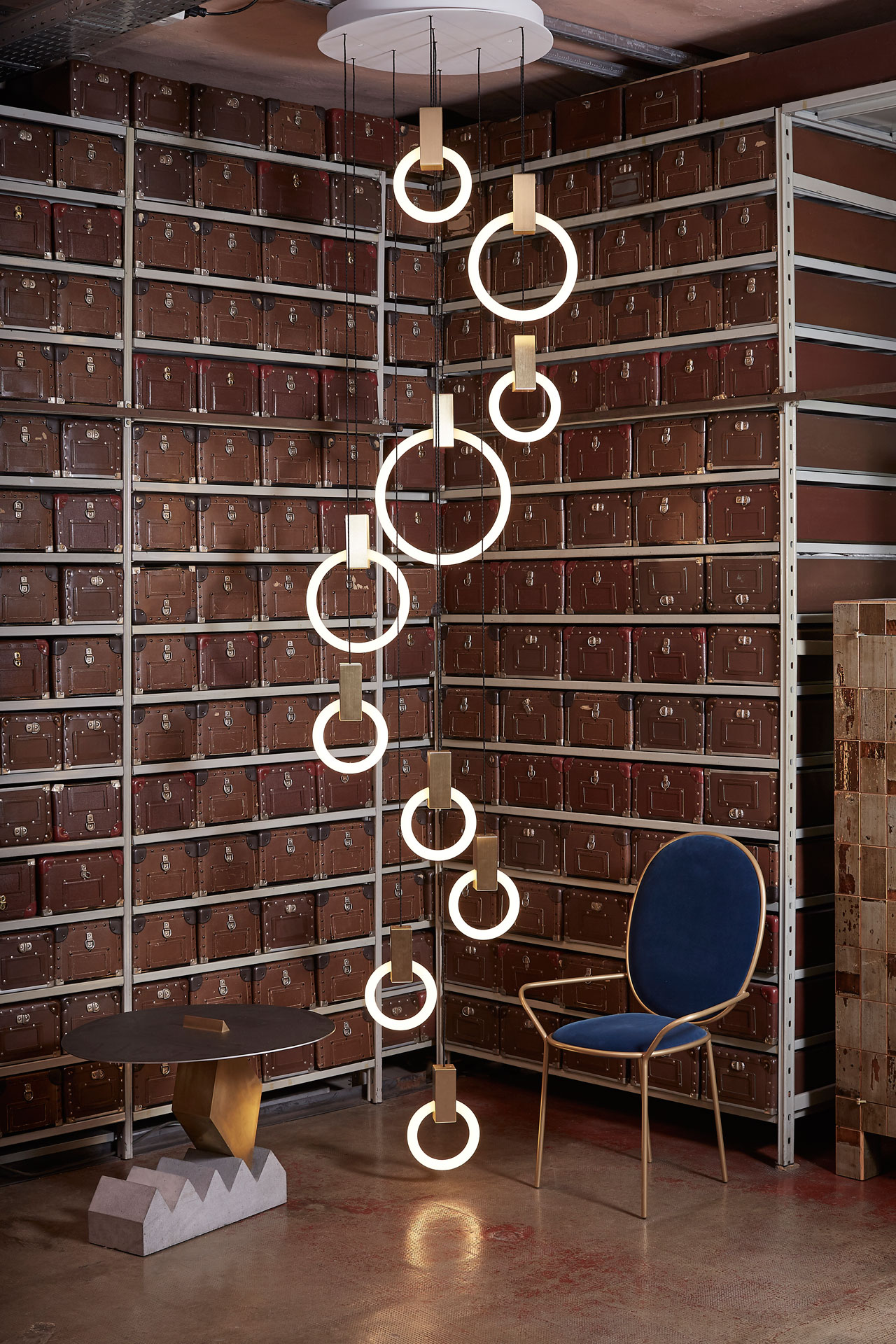 Installation with HALO lights by Canadian designer Matthew McCormick at Spazio Rossana Orlandi.