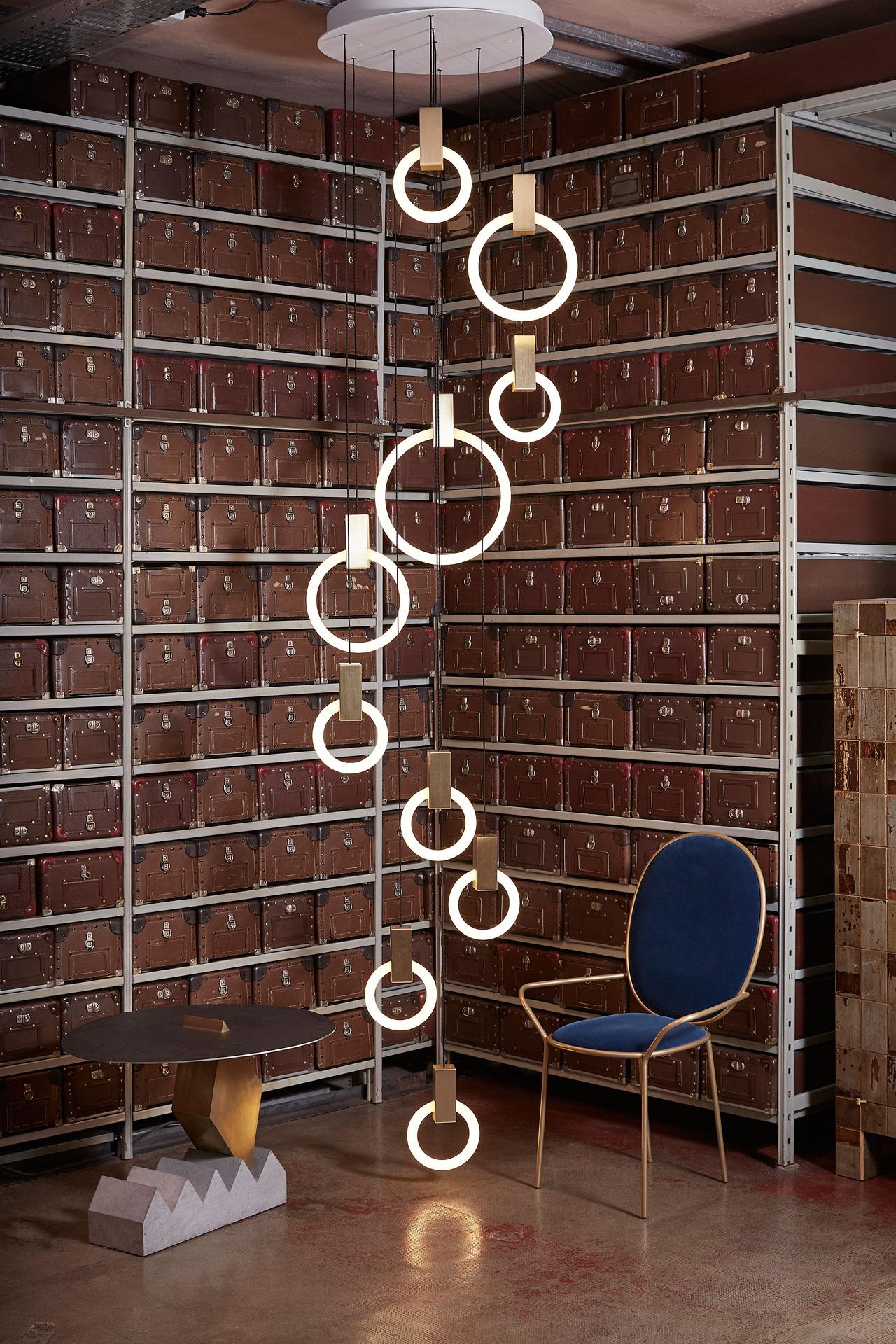 Installation with HALO lights byCanadian designer Matthew McCormick at Spazio Rossana Orlandi.