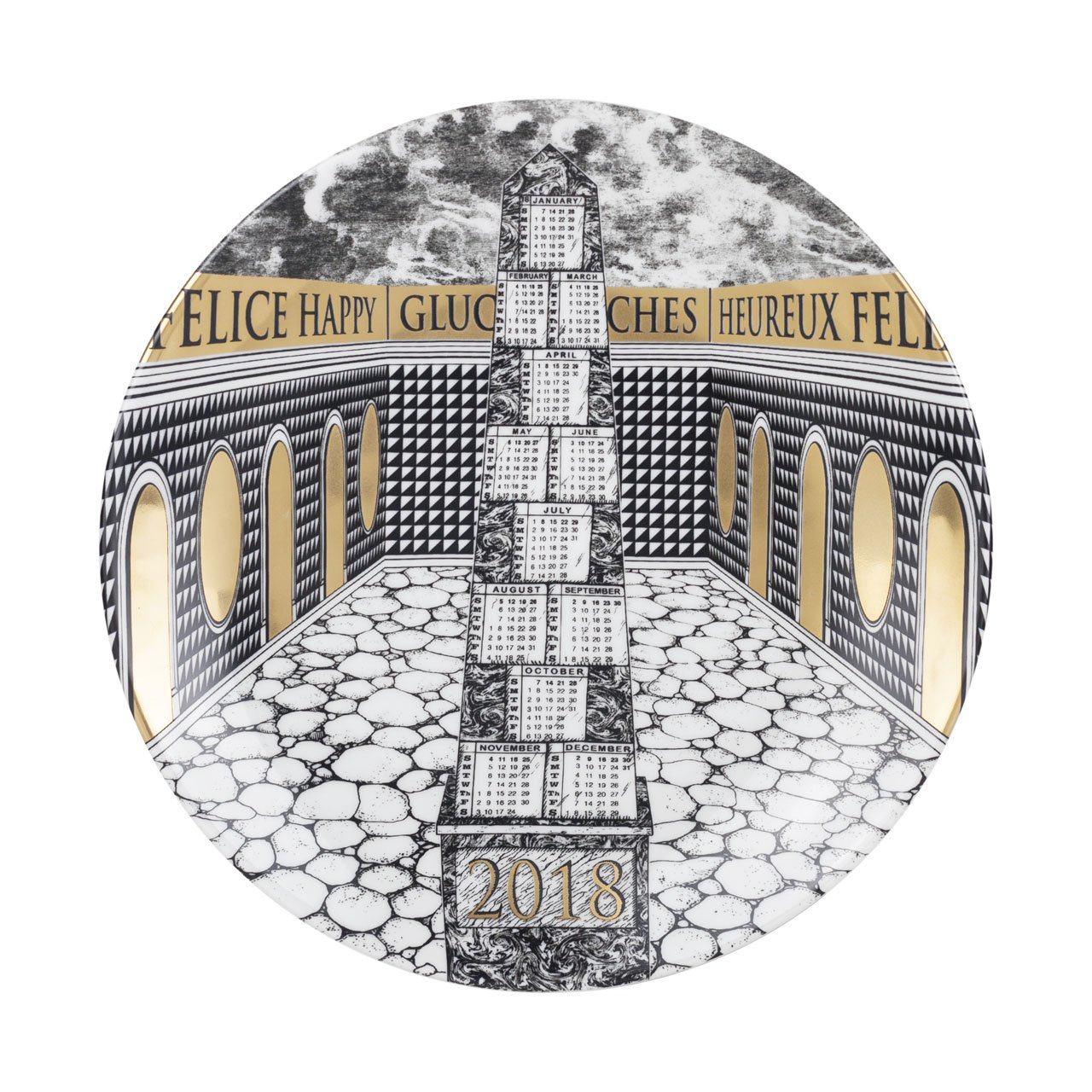 Fornasetti Piatto Calendario 2018, porcelain and gold, diameter 24 cm.
