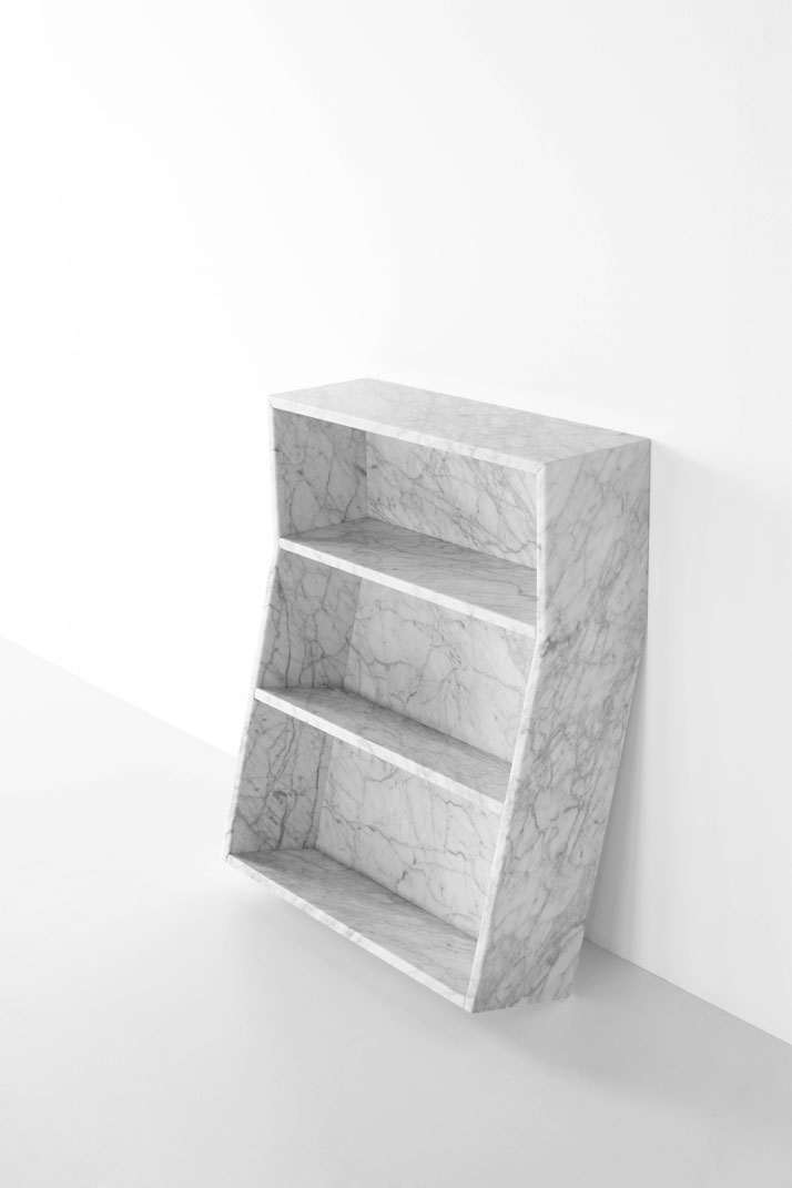 Melt bookcase in White Carrara marble by Thomas Sandell for Marsotto Edizioni, 2010.