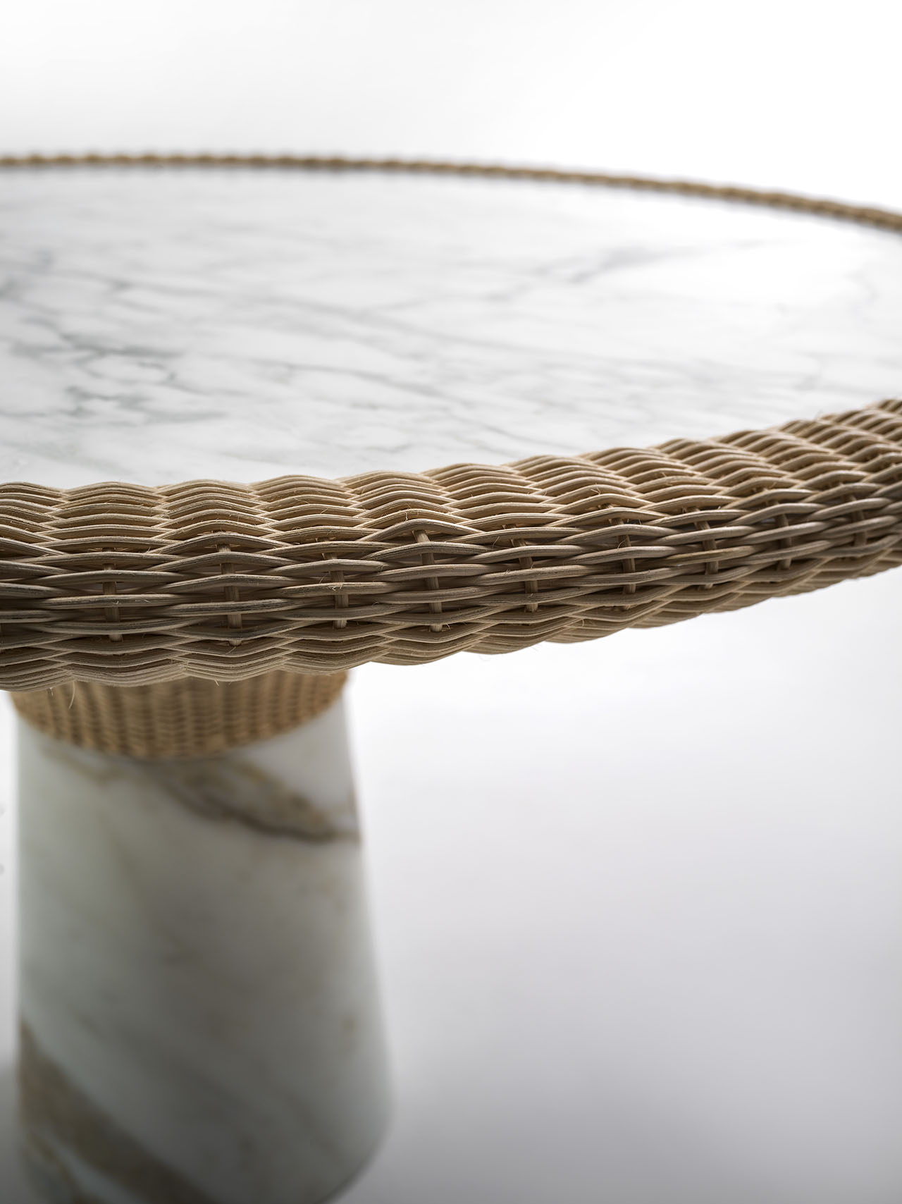 Amazonas collection made of marble & wicker, designed by Giorgio Bonaguro for Morfosi.