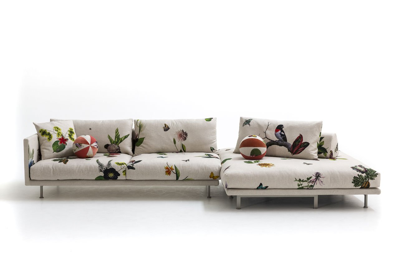 JOSH seating system by Edward van Vliet with Japanese futon and the printed linen ikebana graphics, for MOROSO.