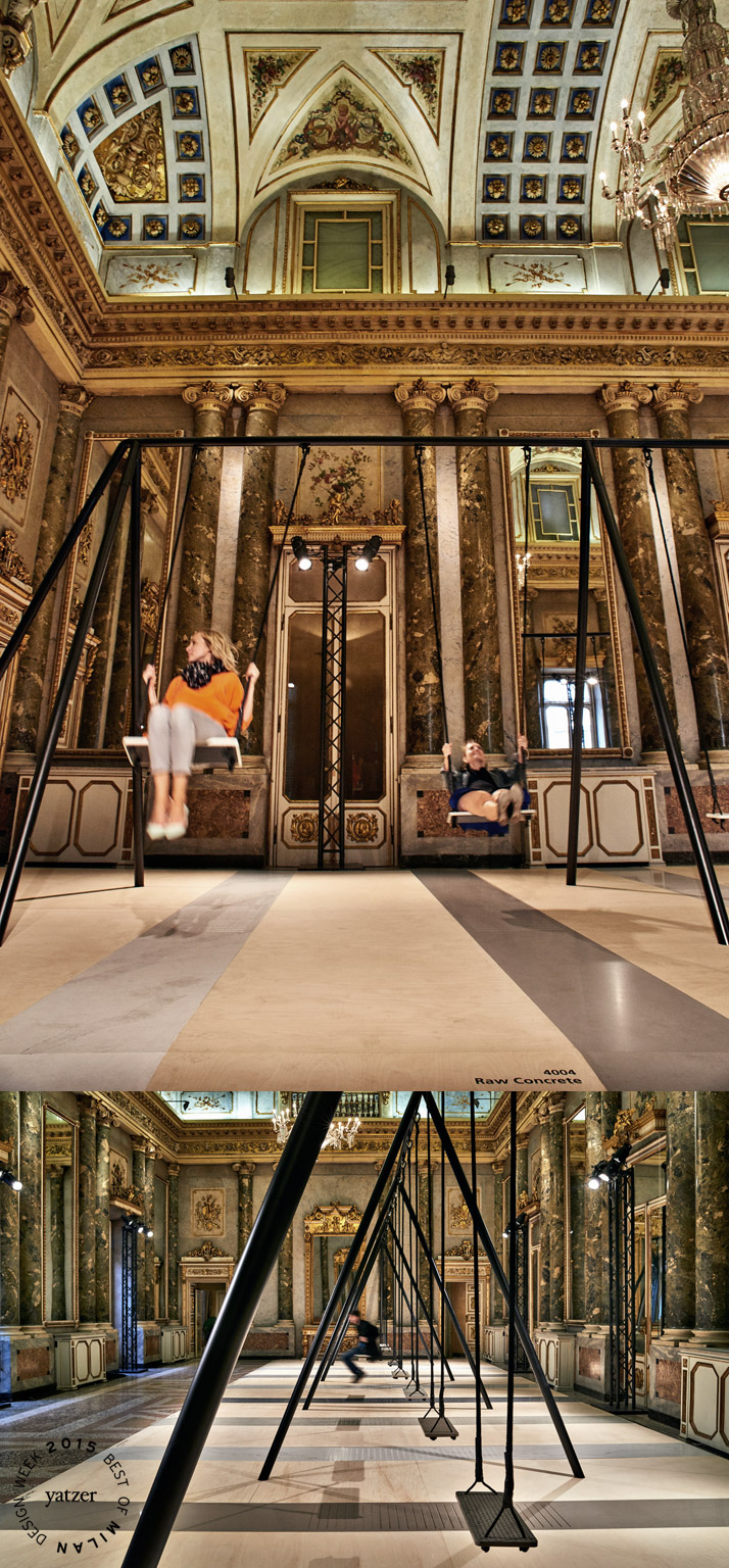 The 8-piece swing-set created from the new 2015 surface designs of Caesarstone, part of Movements, an interactive installation by Philippe Malouin at Palazzo Serbelloni. Photo by Tom Mannion.