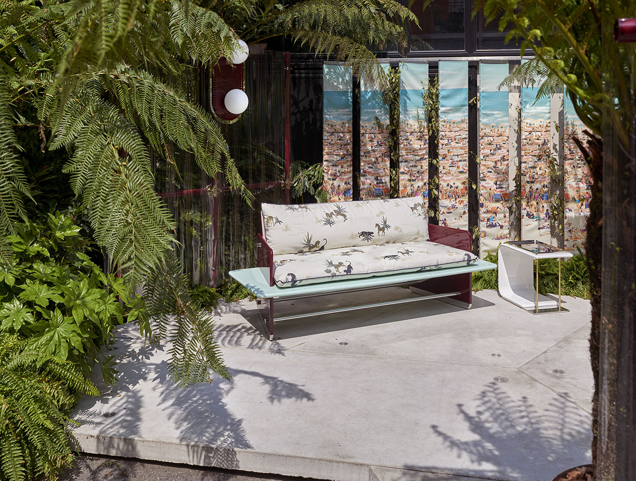 Supernova outdoor furniture series by Derek Castiglioni. Installation view at Nilufar Depot by Pim Top.