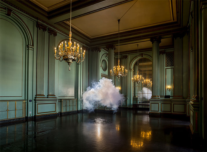 Berndnaut Smilde, Nimbus Green Room, 2013.Digital C-type Print.75 x 102 / 125 x 170 cm