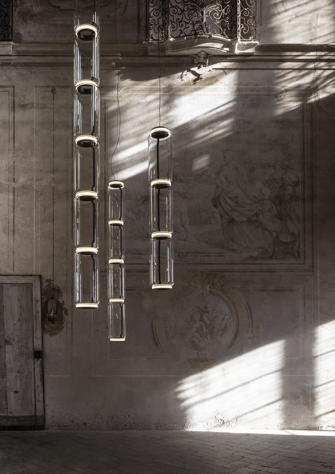 Noctambule collection of blown glass lamps by Konstantin Grcic for FLOS.photo by Santi Caleca.