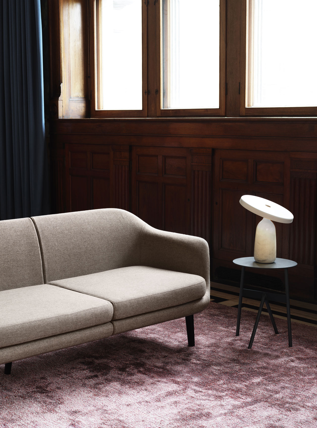 Sum sofa and Eddy table lamp by Simon Legald; Stock table by Jessica Nakanishi and Jonathan Sabine of MSDS, all designed for Normann Copenhagen.