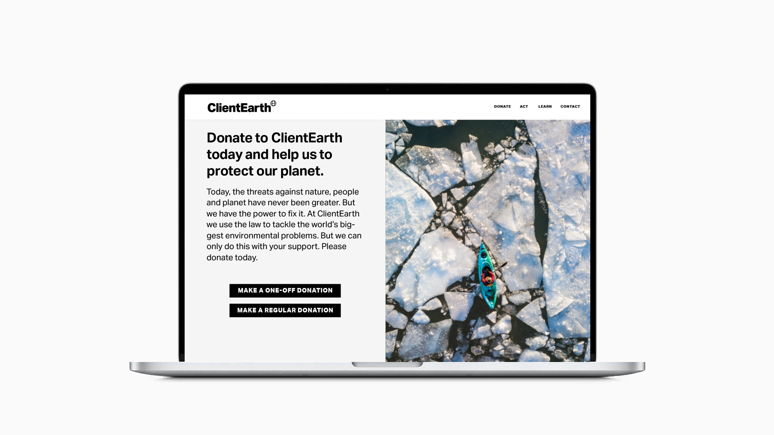 ClientEarth website. Strategy and creative direction by Apropos. Design and art direction by Erica Dorn. Strategy and copywriting by Clare Aitken.