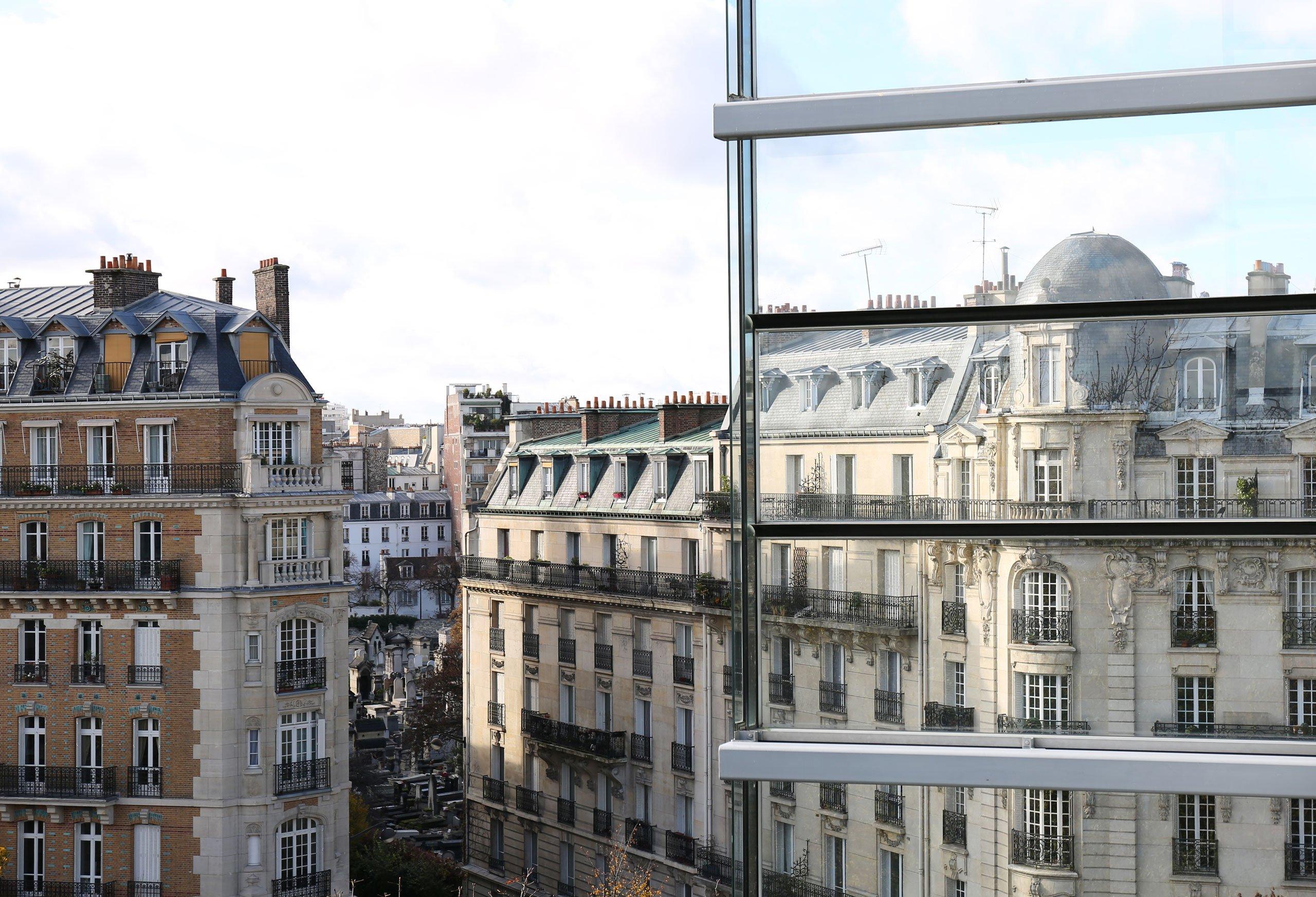 The view fromMathilde Laurent's office/laboratory on the top floor of the Jean Nouvel designed building, Fondation Cartier pour l'Art Contemporain, in Paris. Photo by Mohéli Rinaldi for Yatzer.