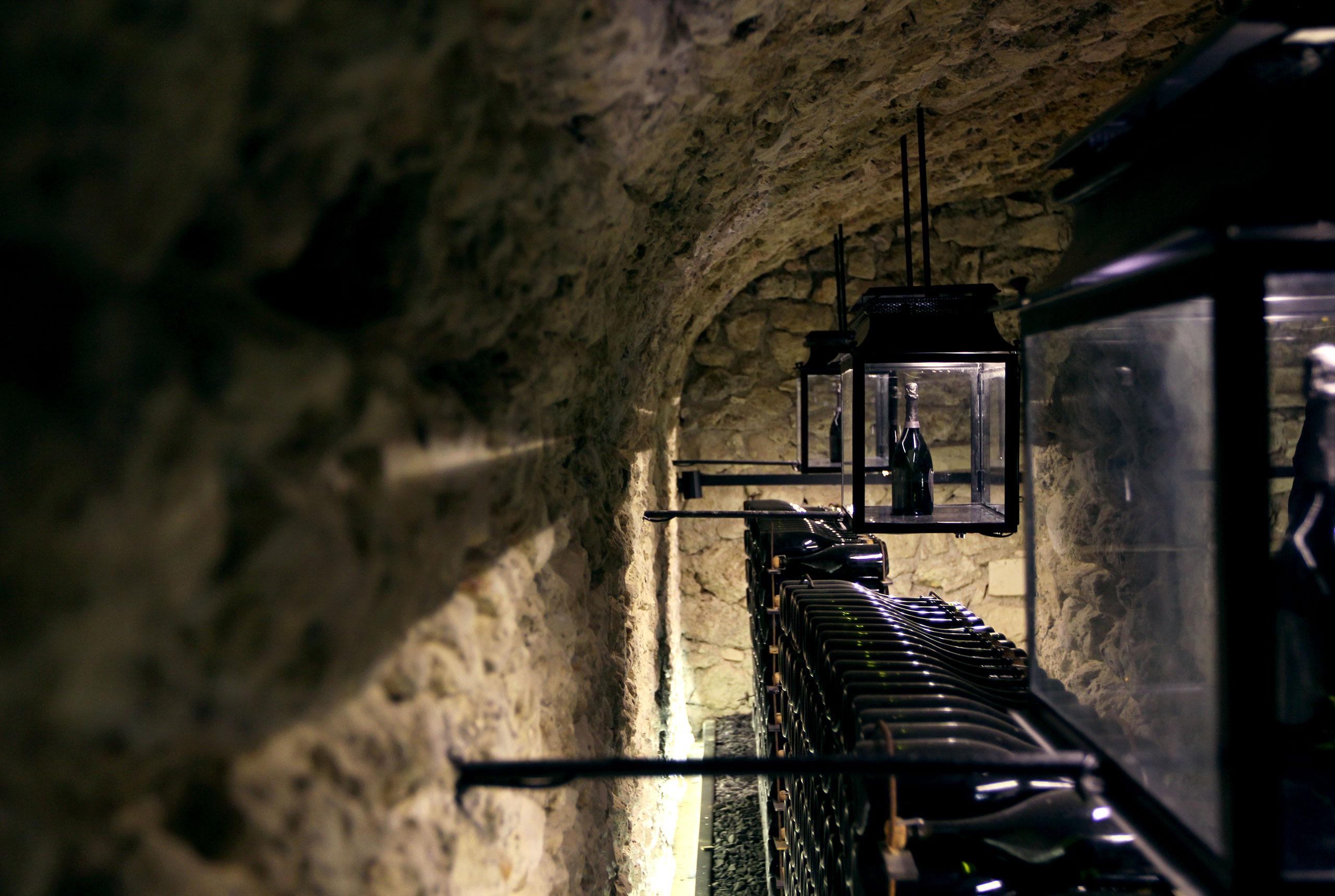 Dom Pérignon champagne cellars atthe Abbey of Saint-Pierre in Hautvillers, France. Photoby Costas Voyatzis for Yatzer.
