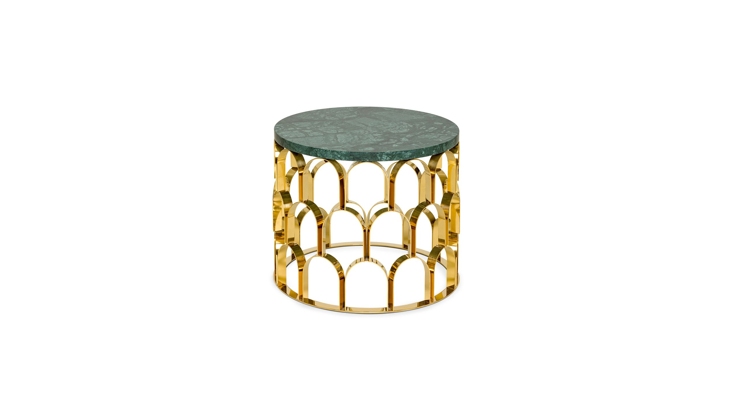 ANANAZ side table in Guatemala Green marble in polished finishing; base in stainless steel coated in Brass finishing in polished finishing. Photo© Ginger & Jagger.