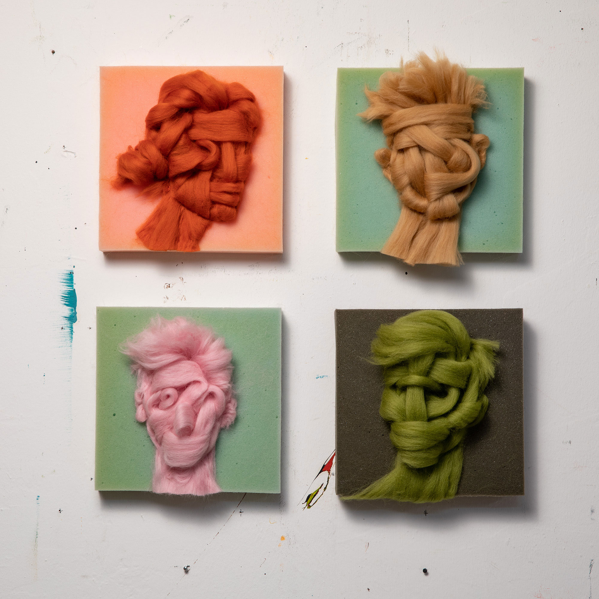 Salman Khoshroo,Wool on Foam Portraits Series, 2020. Courtesy of the artist.