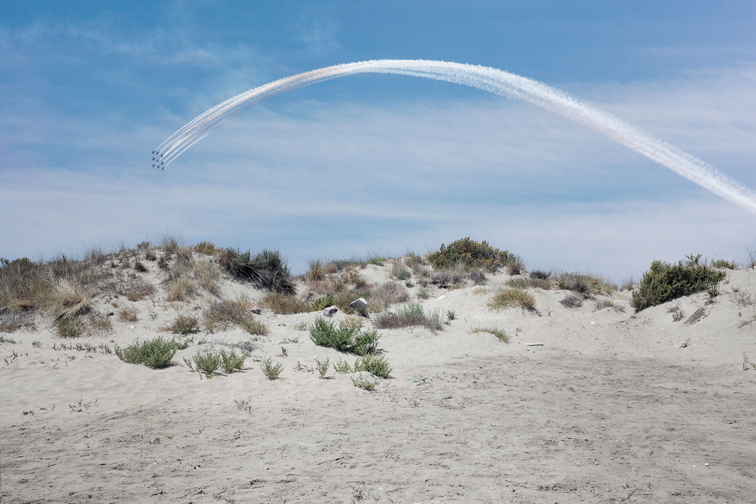 Stelios Kallinikou, Red Arrows rainbow, 2015, dimensions variable, Courtesy of the Artist.