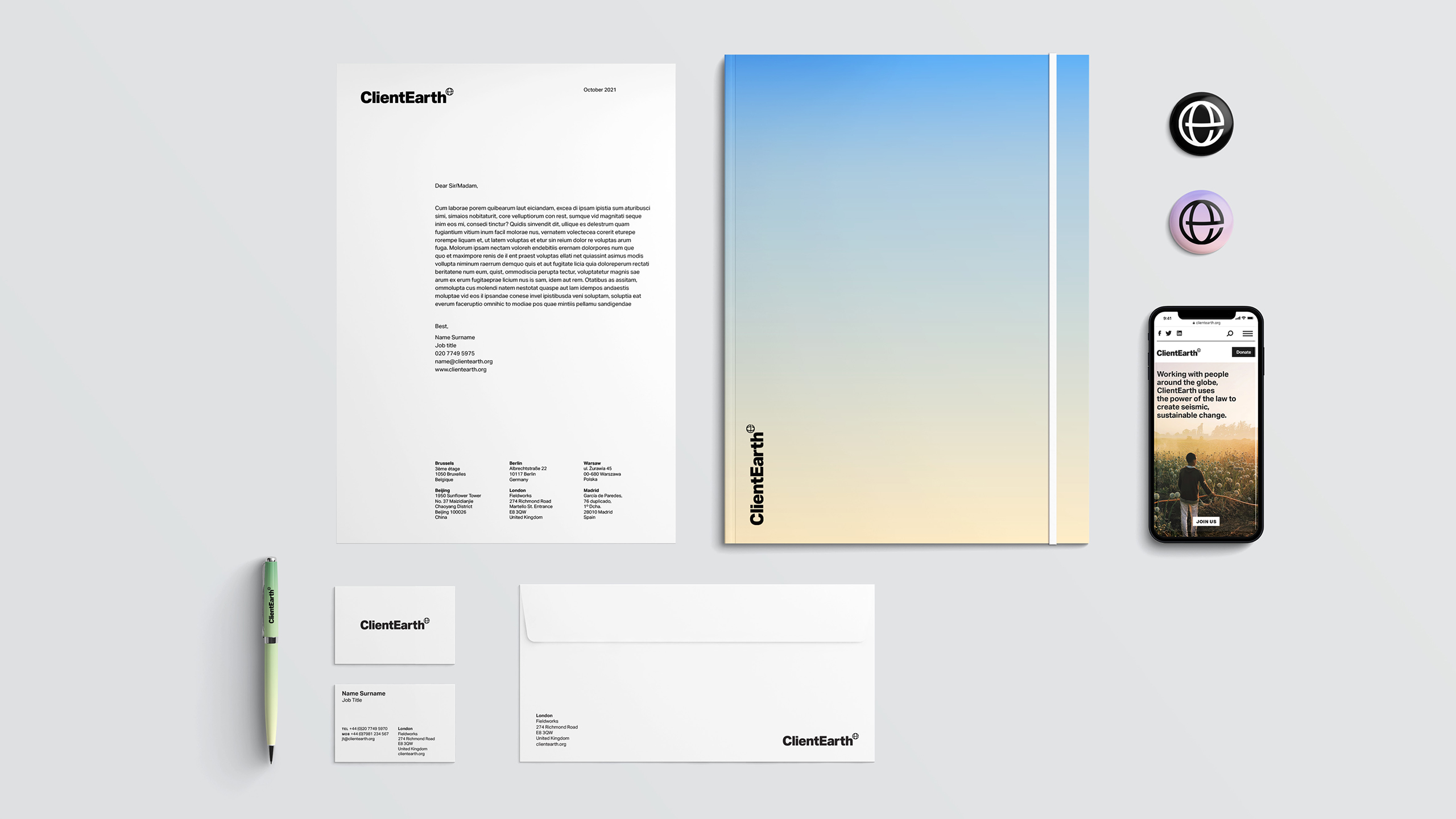 ClientEarth stationery. Strategy and creative direction by Apropos. Design and art direction by Erica Dorn. Strategy and copywriting by Clare Aitken.