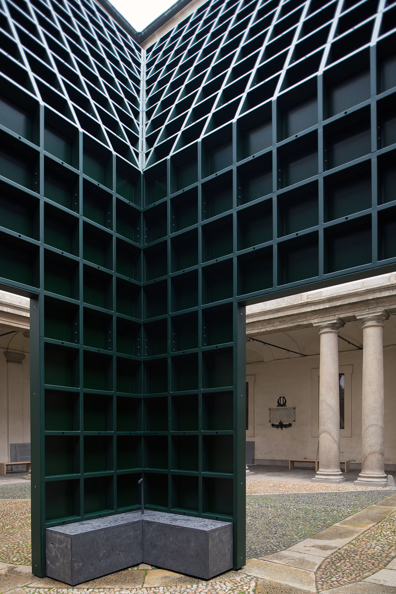Echo Pavilion by Chilean architecture duo Pezo von Ellrichshausen at Palazzo Litta. Photo by Mauricio Pezo.