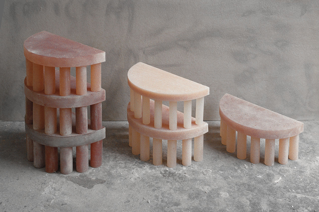 POMPEI series of side tables by OPERE VARIE Matteo & Allina Cor, produced by Resin 3d line.