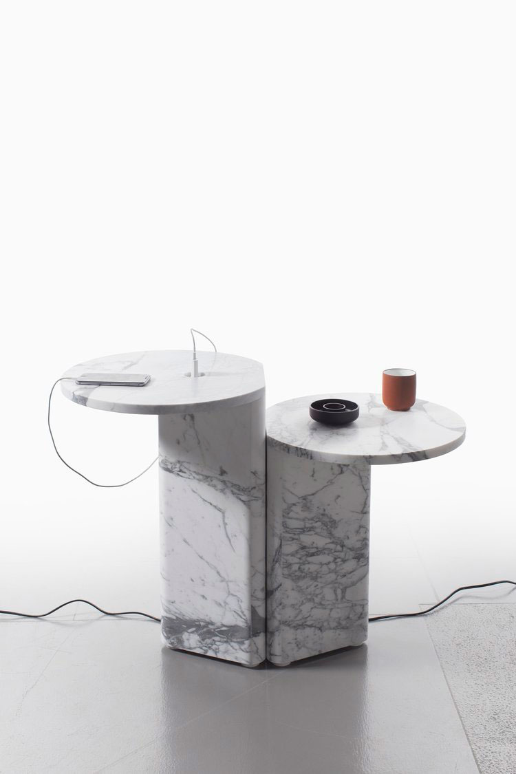 Marble POWER Side Tables by Julien Renault for the ITEMS series of Van Den Weghe.