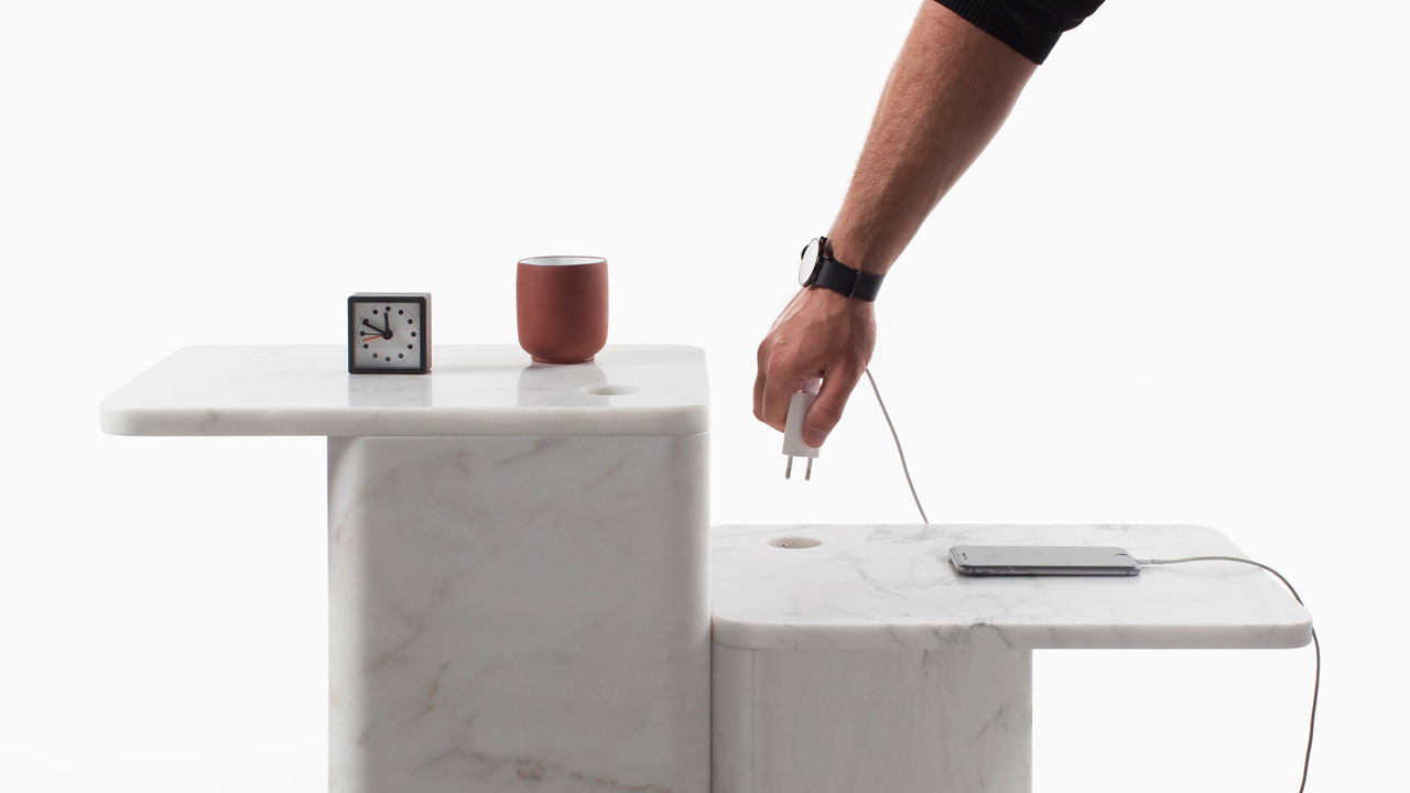 Marble POWER Side Tables byJulien Renault for theITEMS series ofVan Den Weghe.