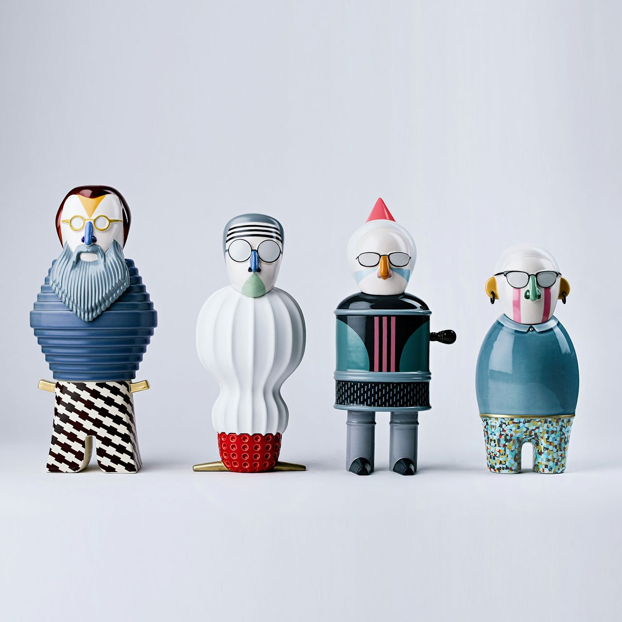 From left to right: Michele De Lucchi, Achille Castiglioni, Riccardo Dalisi and Alessandro Mendini from the Most Illustrious three-dimensional ceramic figure collection by Elena Salmistraro for Bosa Ceramiche.