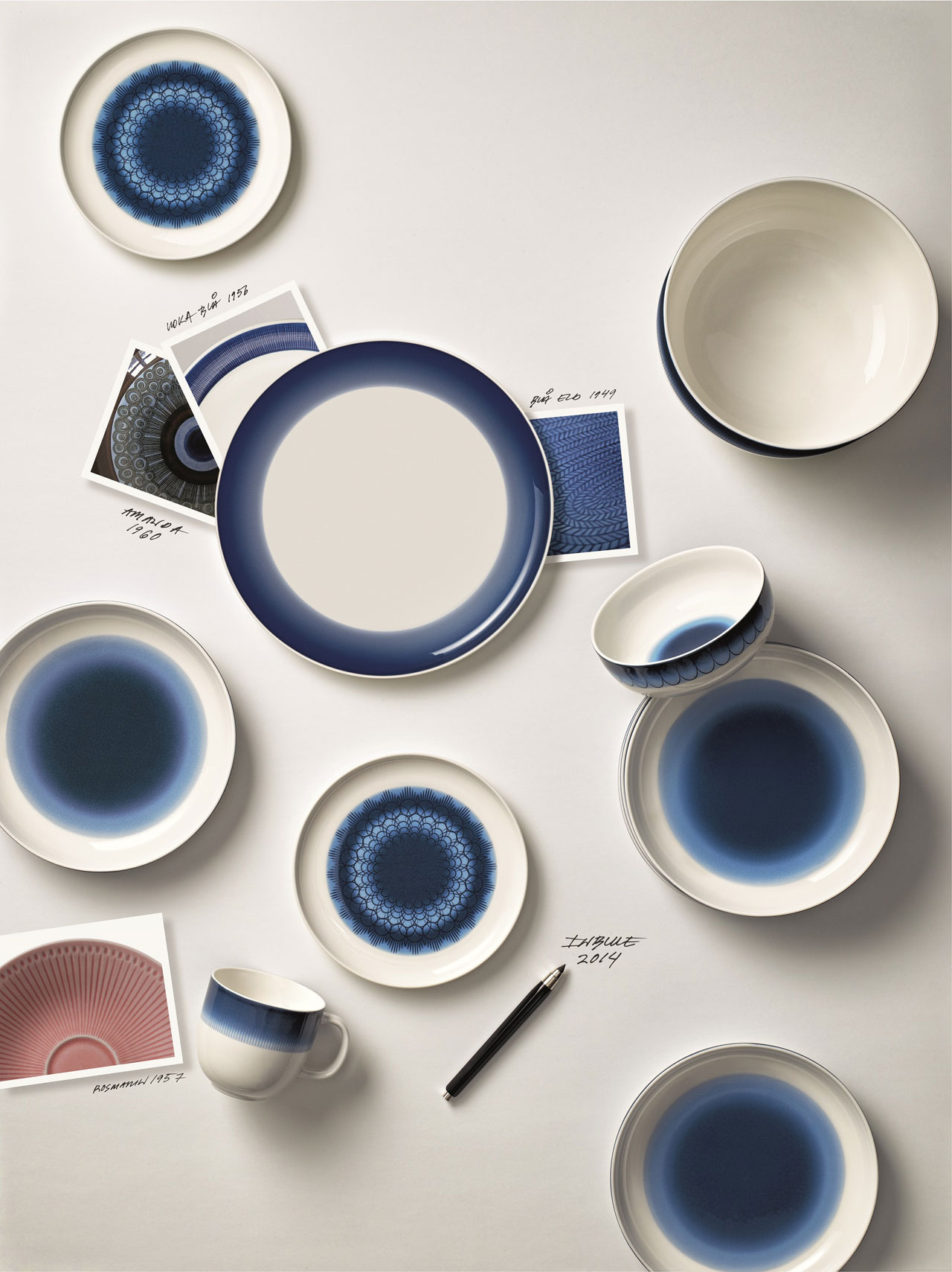 Inblue porcelain tableware by Monica Förster for Rörstrand.