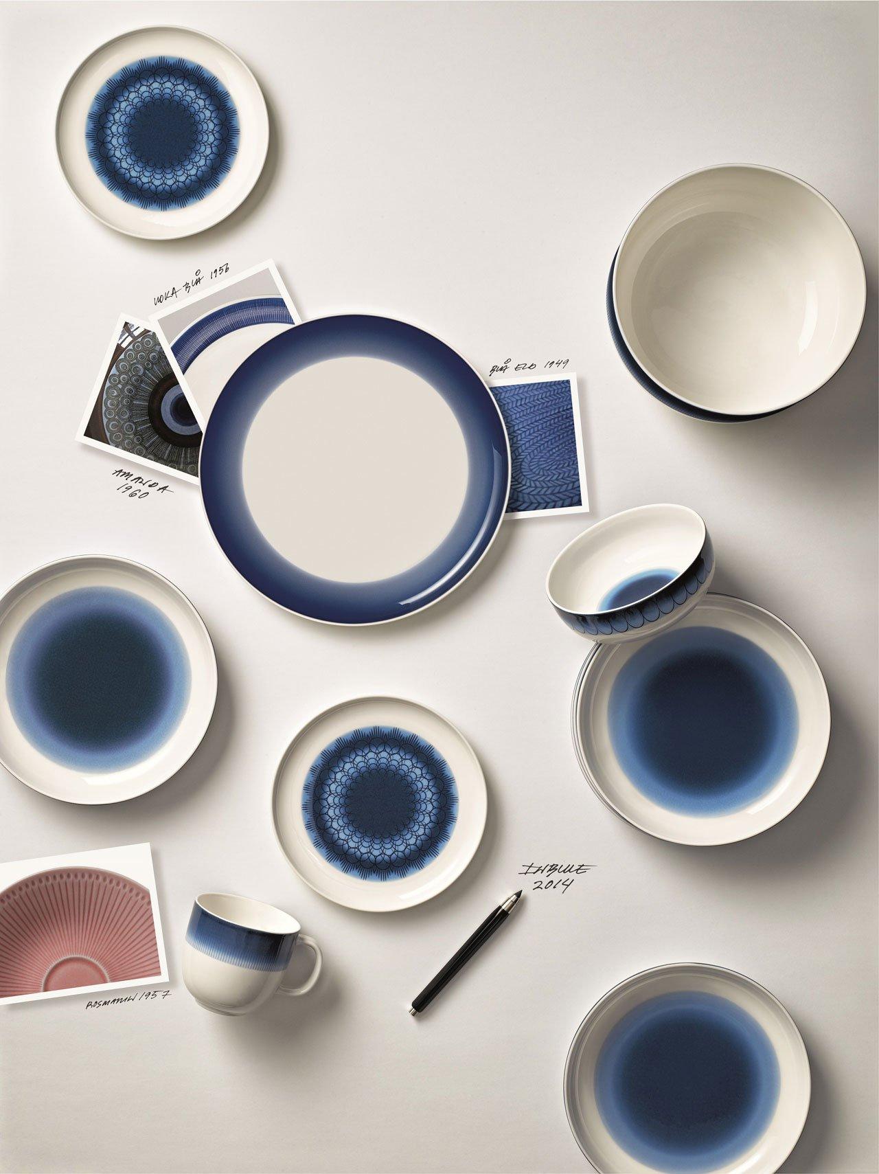 Inblue porcelain tableware byMonica FörsterforRörstrand.