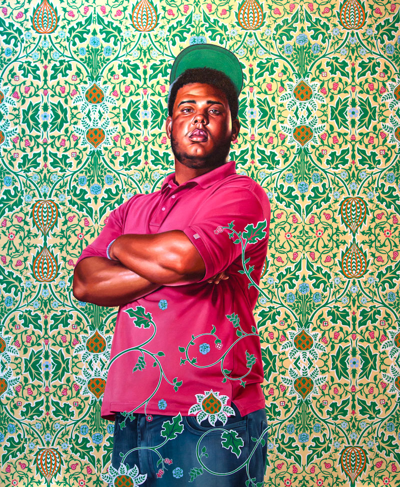 Kehinde Wiley, Portrait of Jose Alberto de la Cruz Diaz, 2016, 183 x 153 cm. Photo courtesy Galerie Templon, Paris and Brussels.