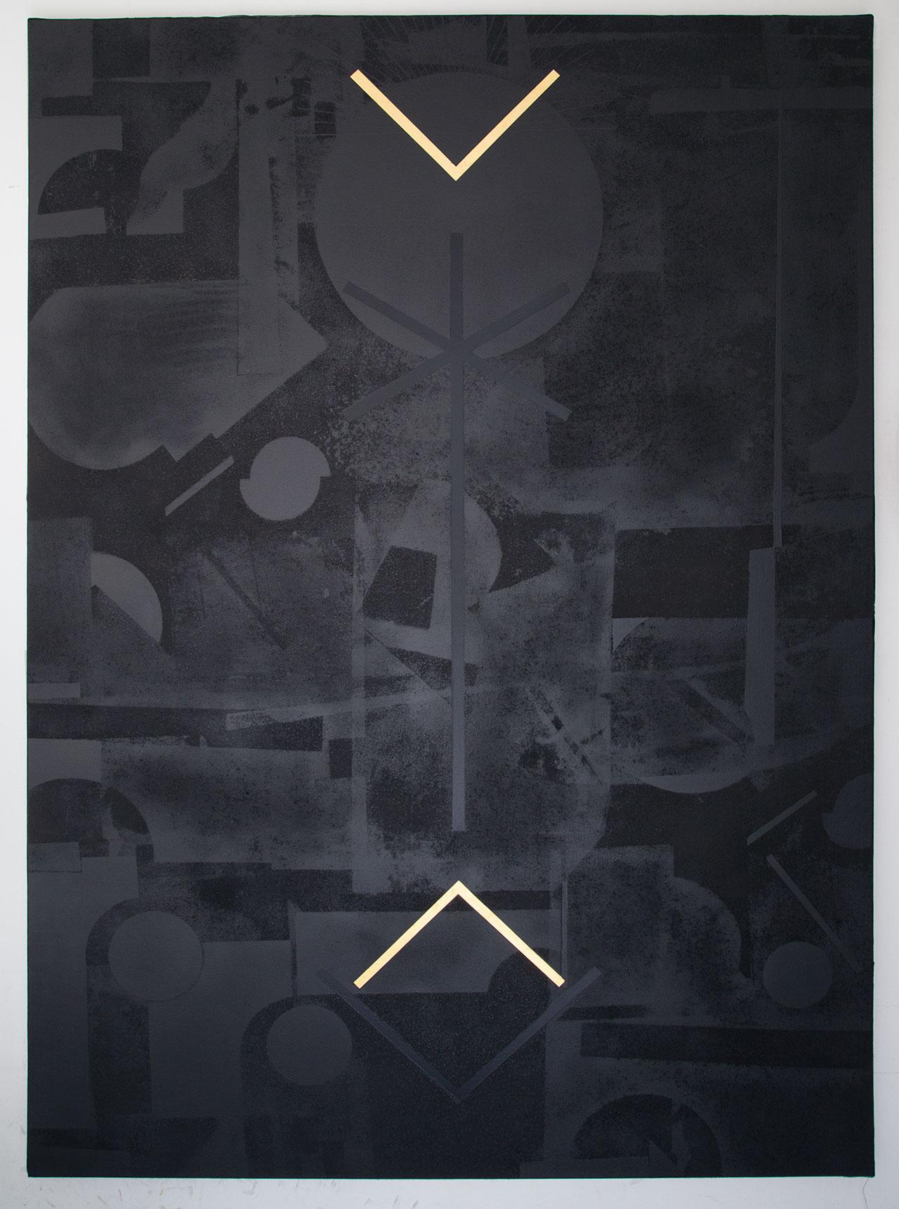 Panos Tsagaris,Untitled, gold leaf, acrylic paint, spray paint and silkscreen on canvas, 180 x 130 cm, 2016. Courtesy of the artist, MLFIMarie-Laure Fleisch, (Rome-Brussels)Kalfayan Galleries, (Athens-Thessaloniki).