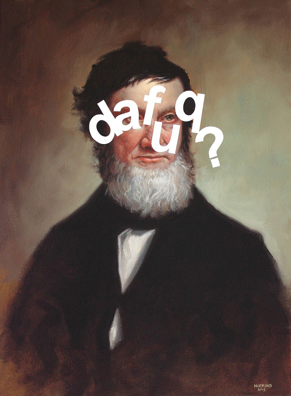 Shawn Huckins, James Beard: The Fuck? (detail), acrylic on canvas, 16 x 12 in (41 x 30 cm), 2013. Private collection, Albany, NY.