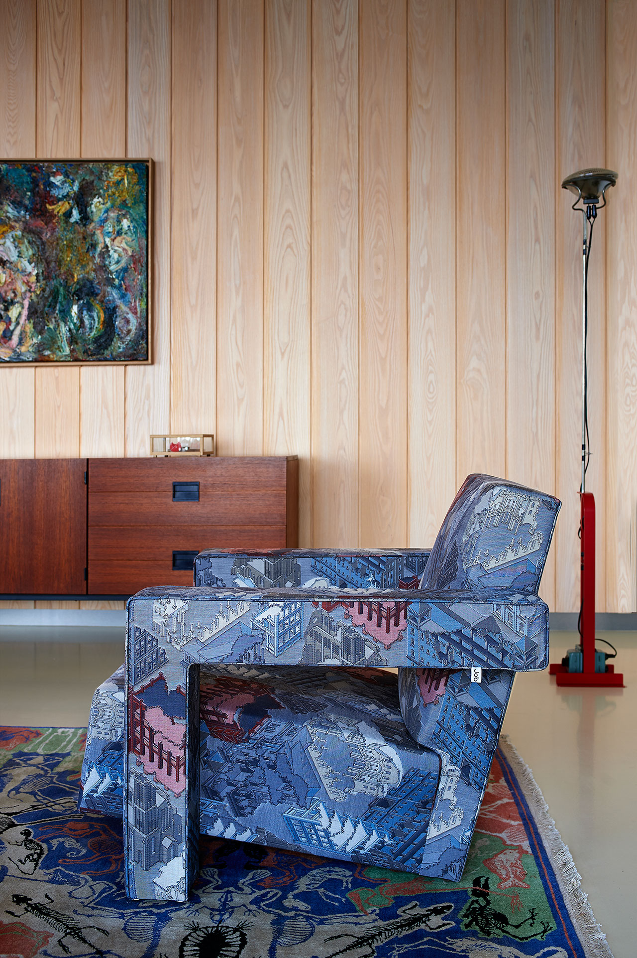 Utrecht Chair, Rietveld Ruins upholstered with fabric designed by Studio Job for Maharam. Perished Persian, Studio Job for Nodus. Credenza, Pastoe DU-03, Cees Braakman. Display box Memento, Knight & Clown. Marine painting, Constant Permeke. Floor Lamp, Achille / Ciacomo Castiglioni. Photo by Dennis Brandsma.