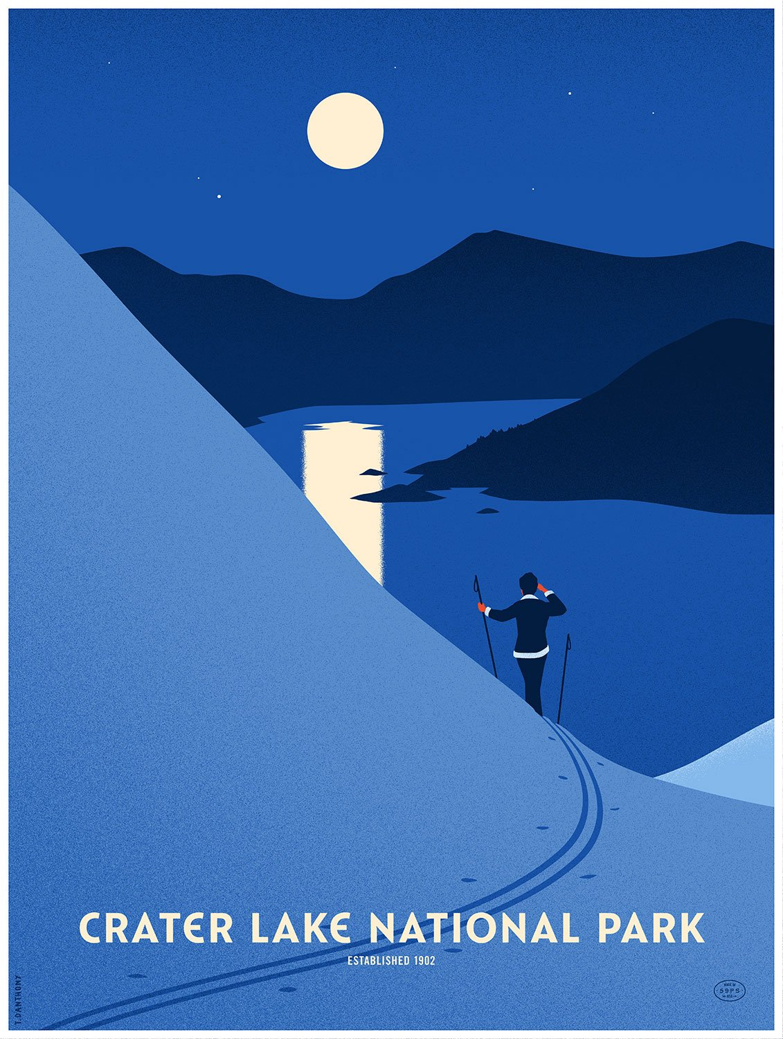 Thomas Danthony, Crater Lake National Park Poster, 10 color screen printed poster. © Thomas Danthony.
