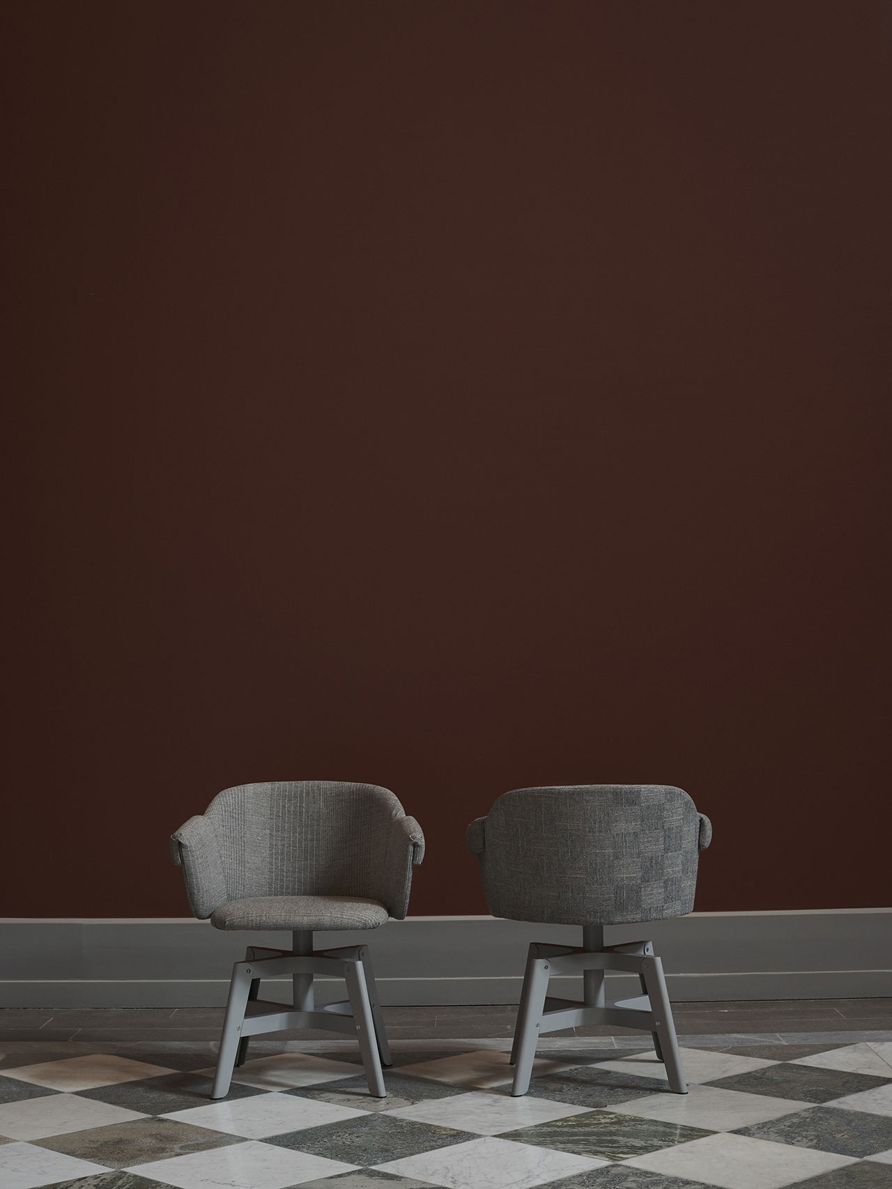 "NM& 036: ""Kavalett"" swivel base chair by Matti Klenell produced by Swedese. Photo by Pia Ulin."