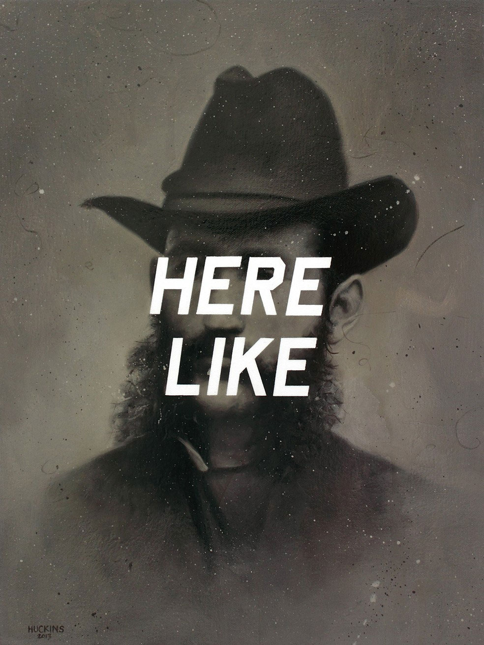 Shawn Huckins, Cornelius C. Kenney: Here Like, acrylic on canvas w/ patina varnish, 16 x 12 in (41 x 30 cm), 2013. Private collection, London.